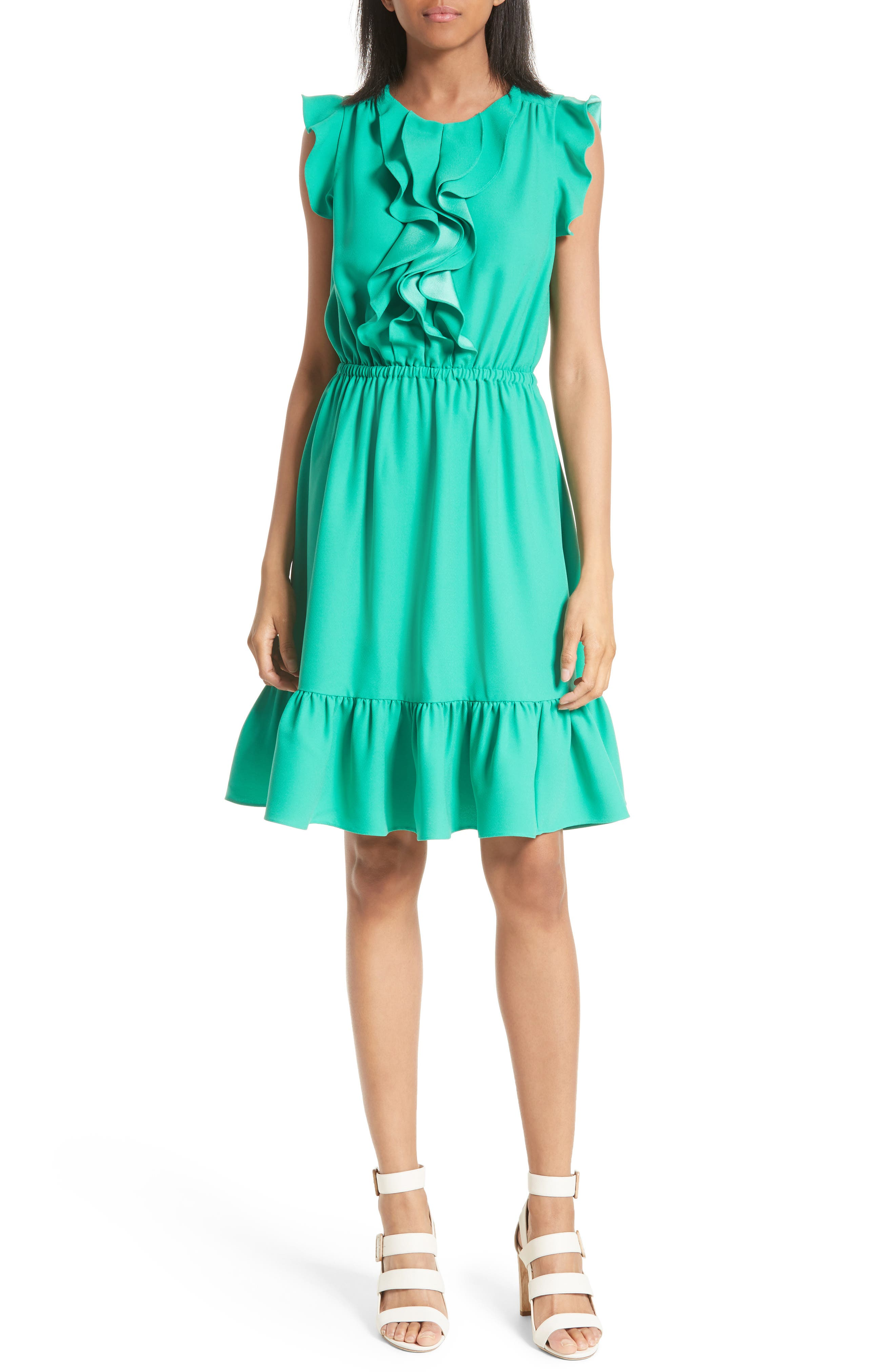 kate spade new york ruffle fit & flare dress