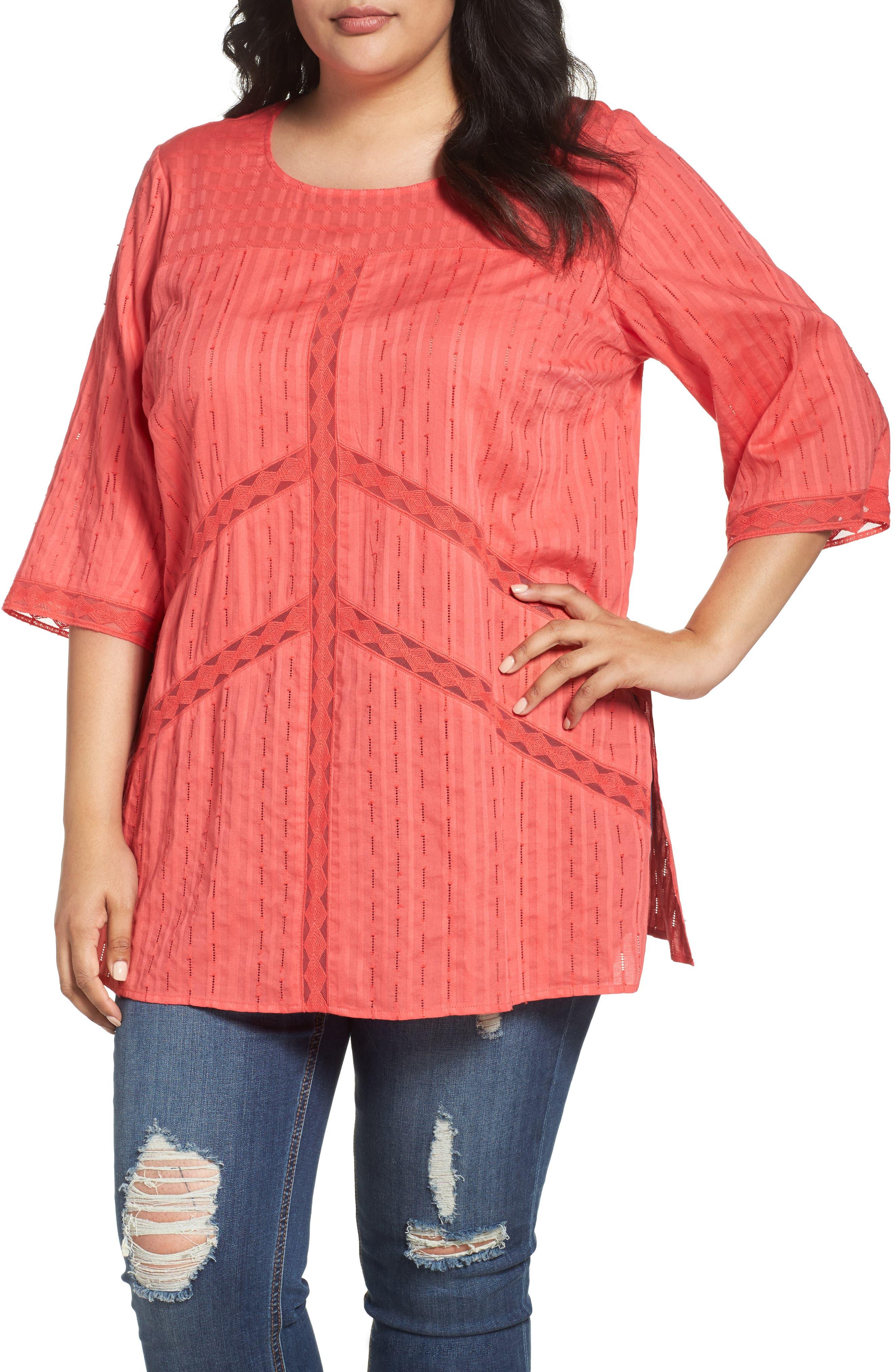 Melissa McCarthy Seven7 Lace Detail Tunic (Plus Size)