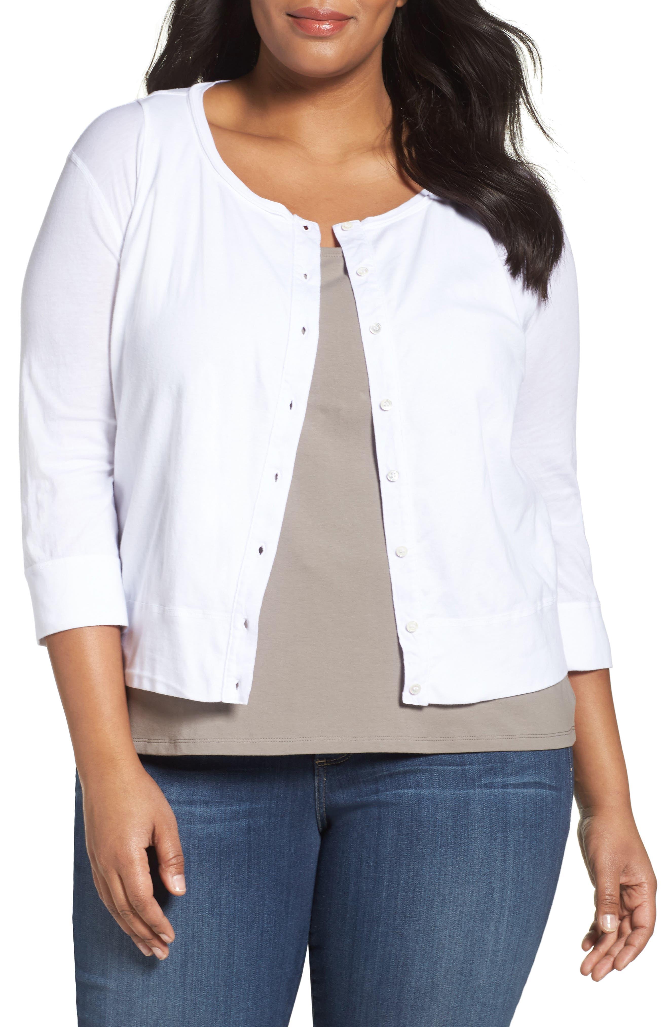 Three Dots Lightweight Cardigan (Plus Size)