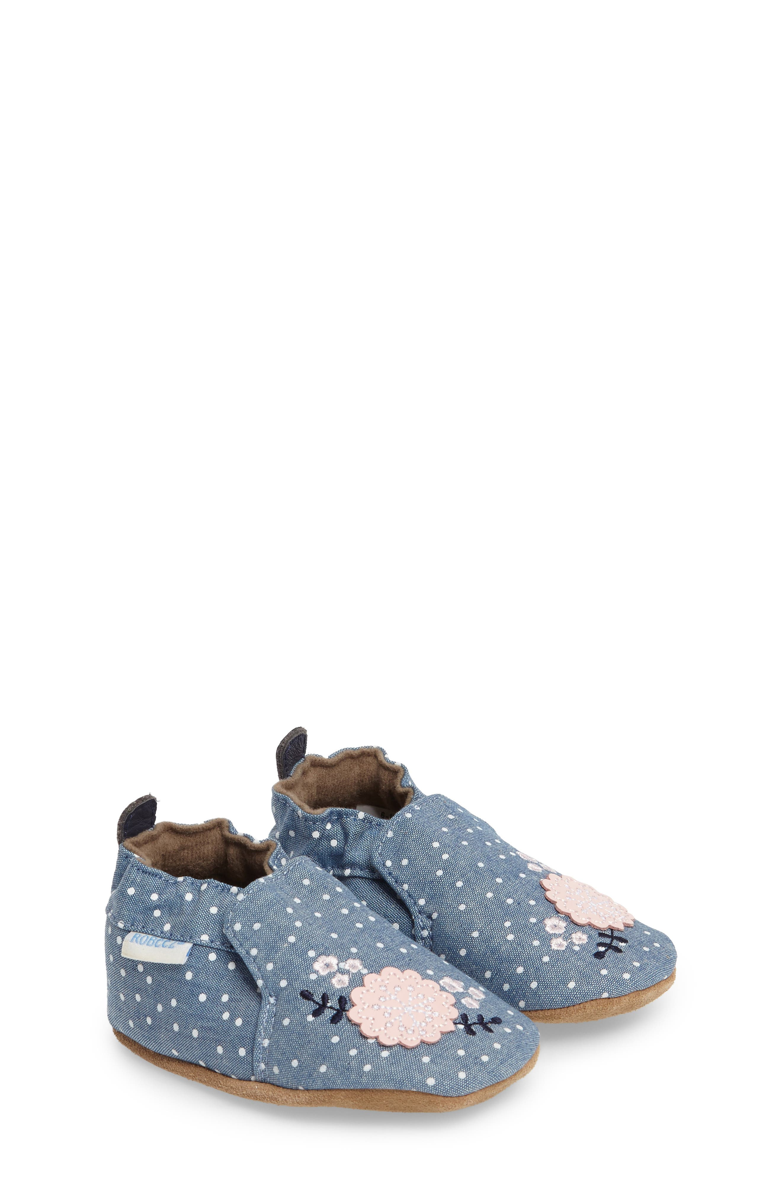 Main Image - Robeez® Chambray Bouquet Slip-On Crib Shoe (Baby & Walker)