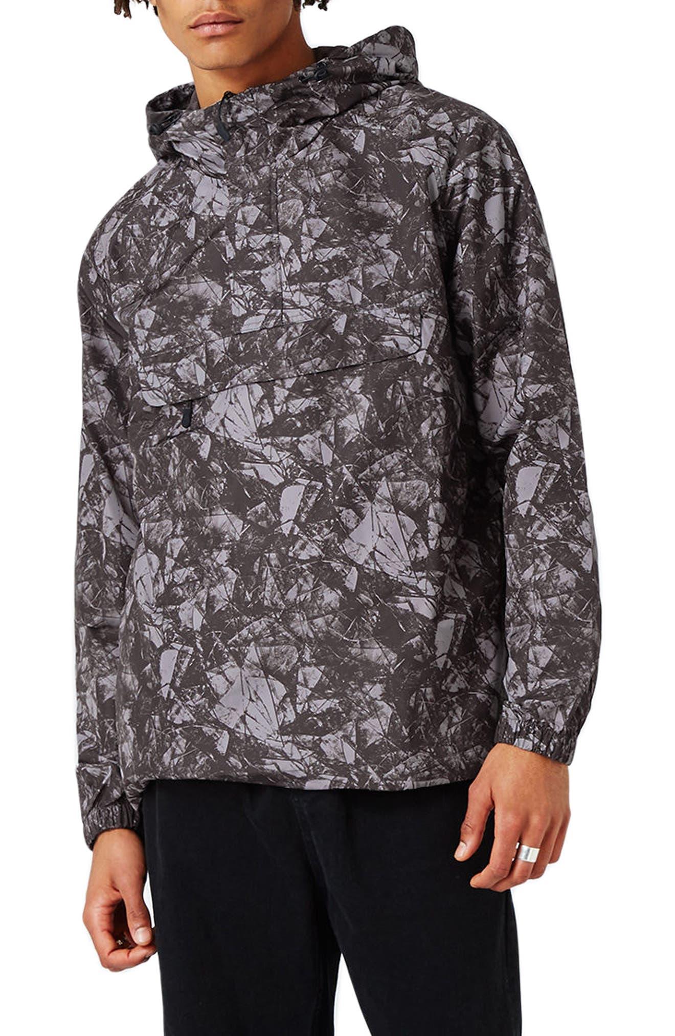 Topman Printed Hooded Anorak