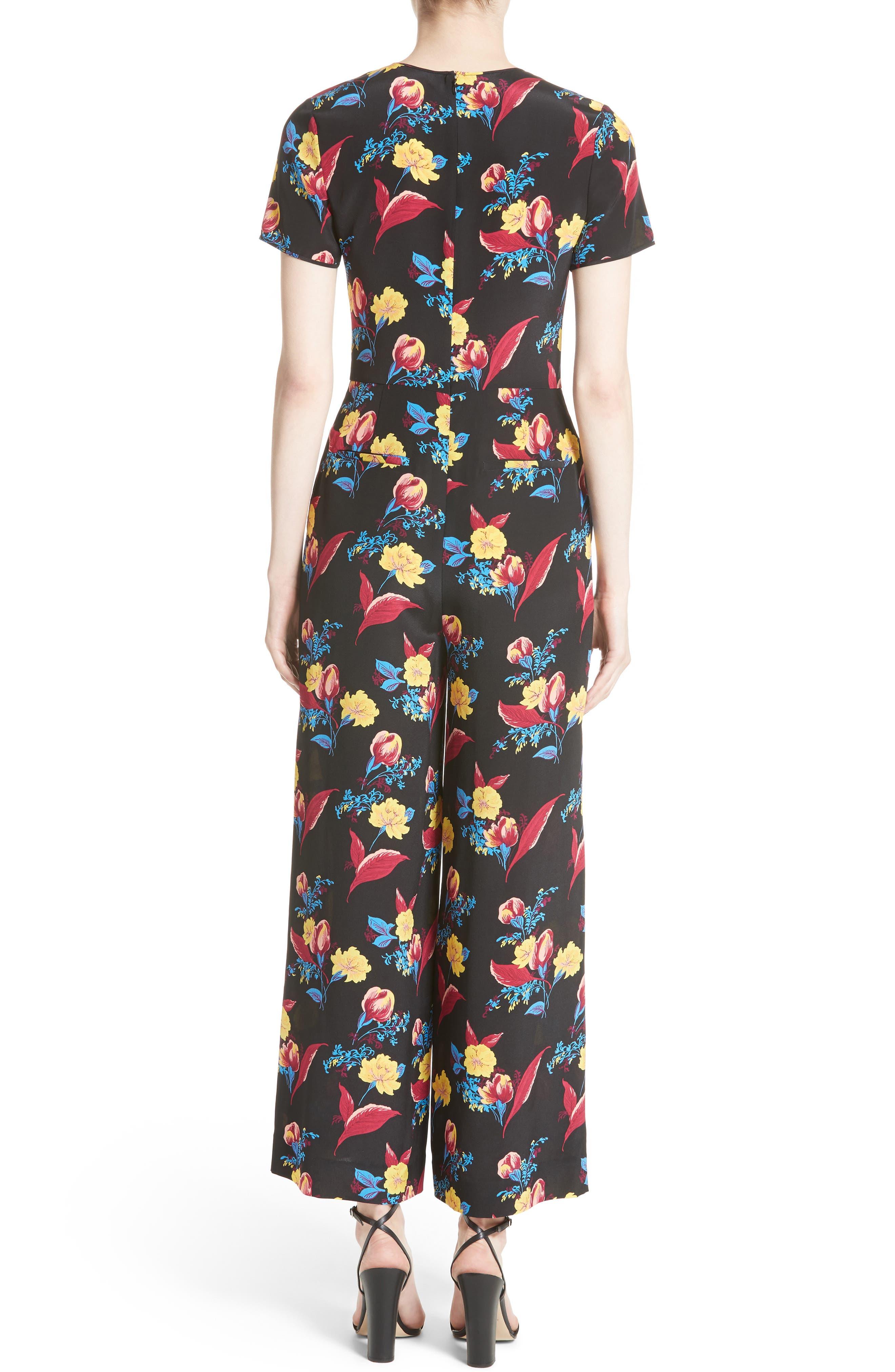 Alternate Image 2  - Diane von Furstenberg Floral Crop Silk Jumpsuit