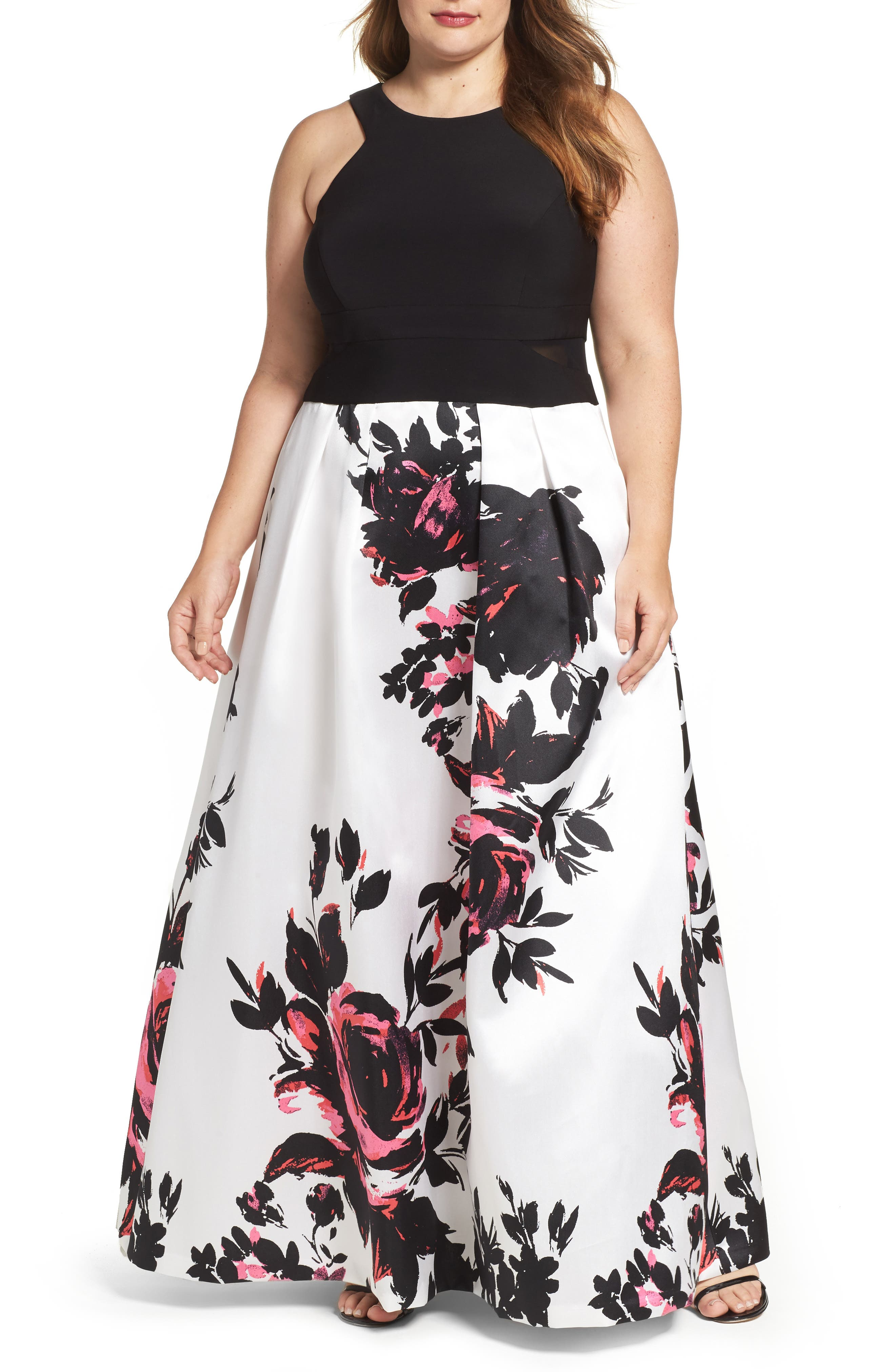 Xscape Print Skirt Ballgown (Plus Size)