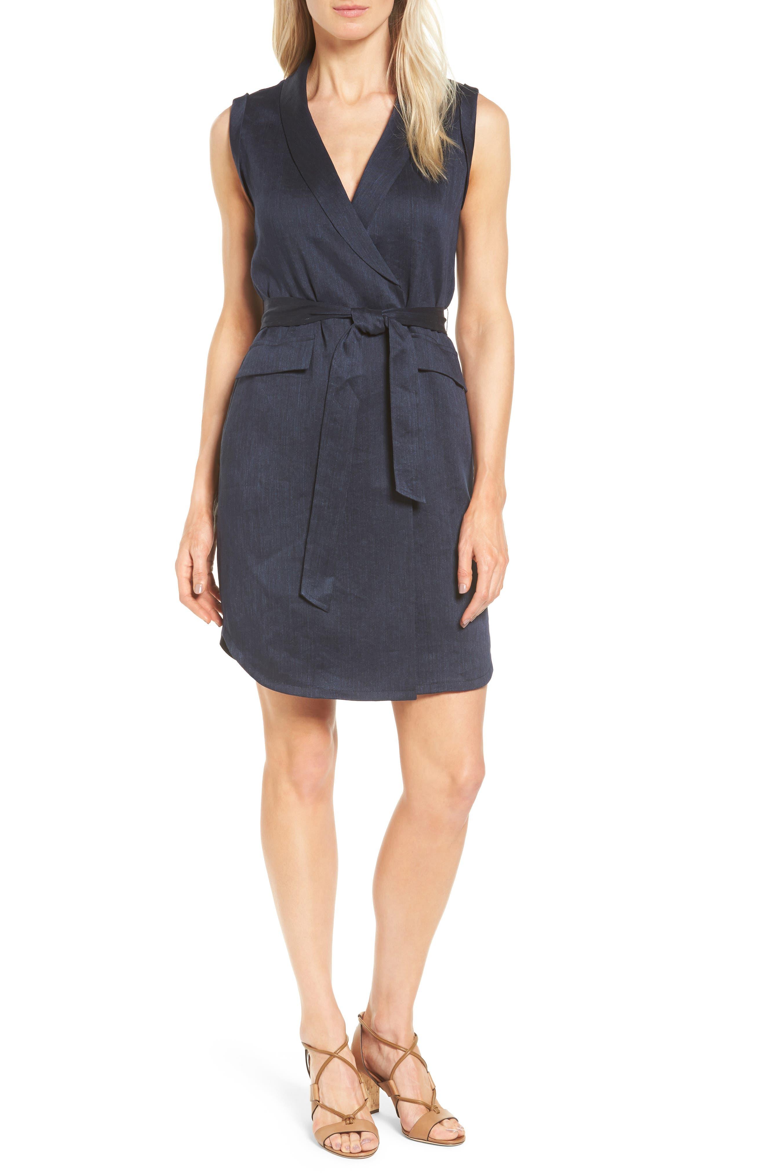 Classiques Entier® Faux Wrap Linen Blend Dress