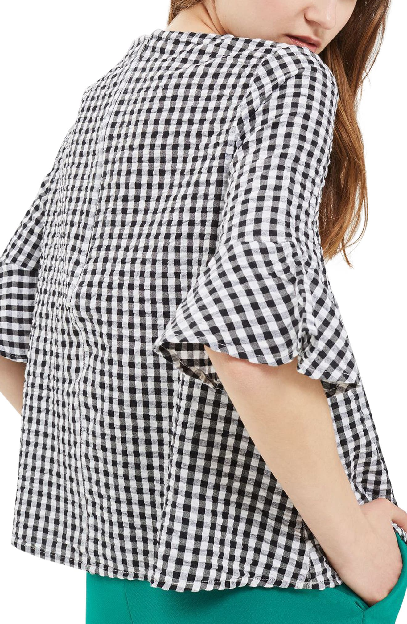Alternate Image 2  - Topshop Embroidered Gingham Top