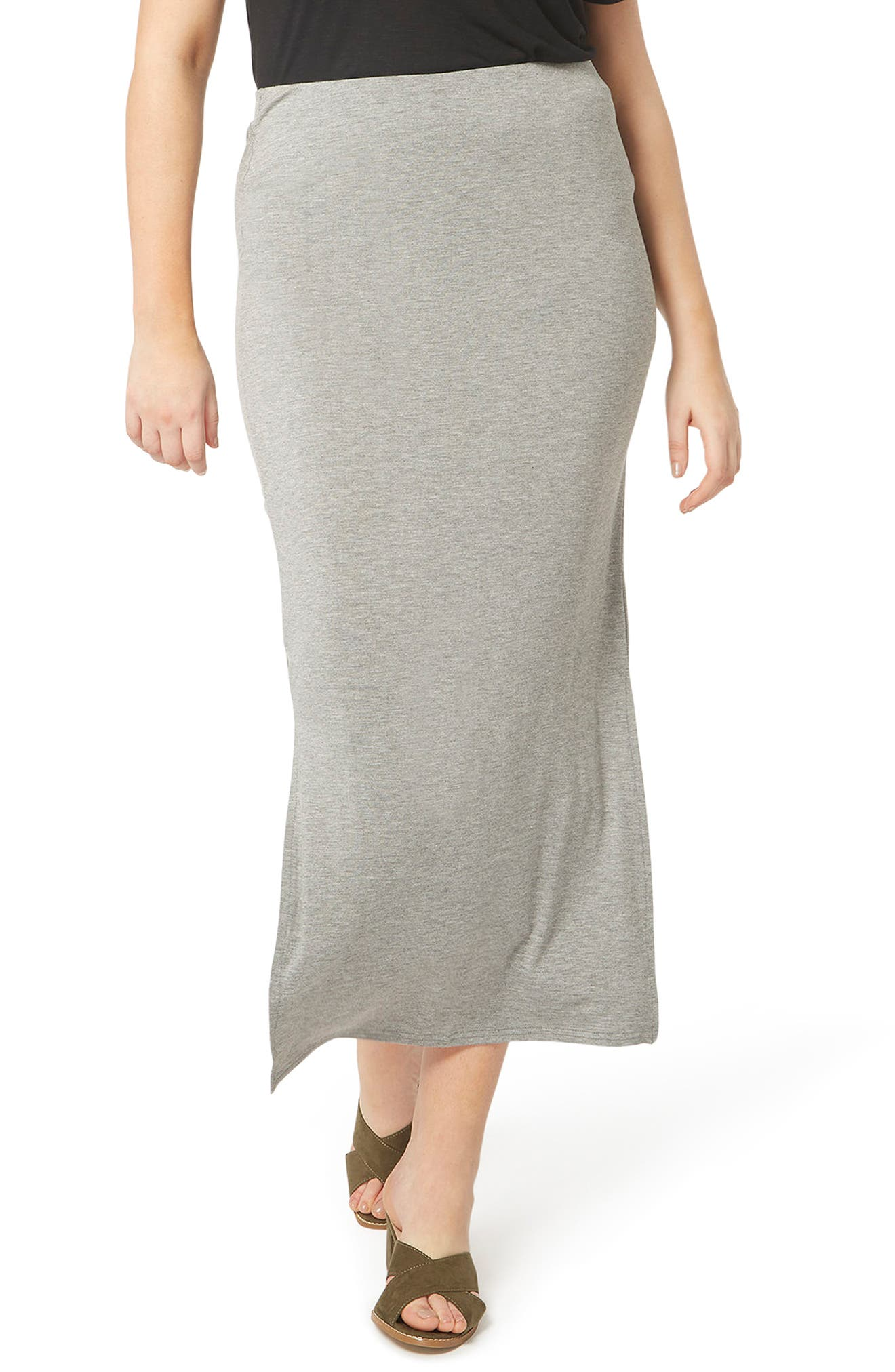 Evans Stretch Knit Midi Skirt (Plus Size)