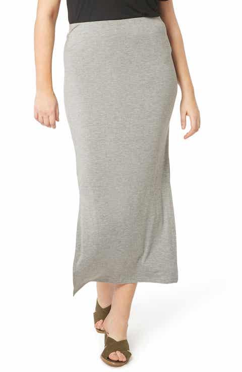 Evans Stretch Knit Midi Skirt (Plus Size)