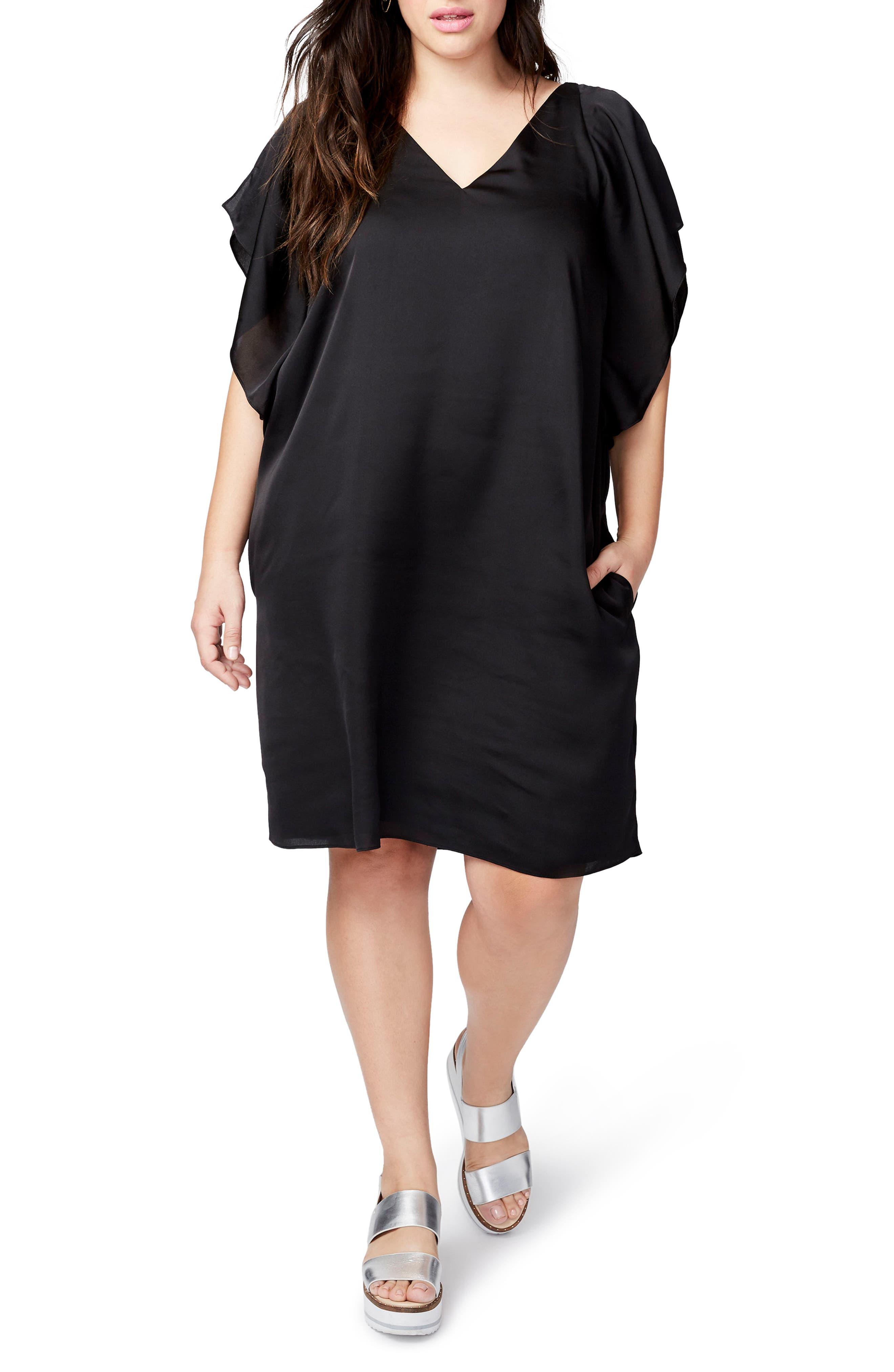 RACHEL Rachel Roy Flutter Sleeve Shift Dress (Plus Size)