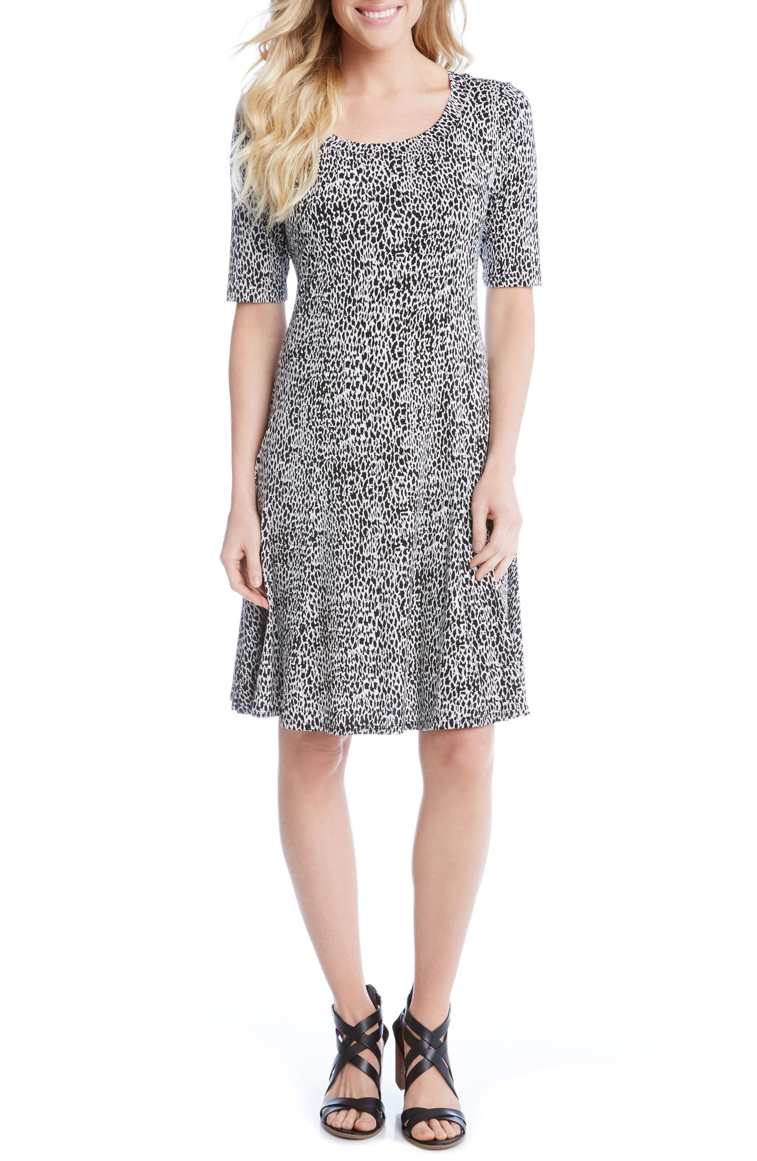 Main Image - Karen Kane Pencil Sleeve Print A-Line Dress