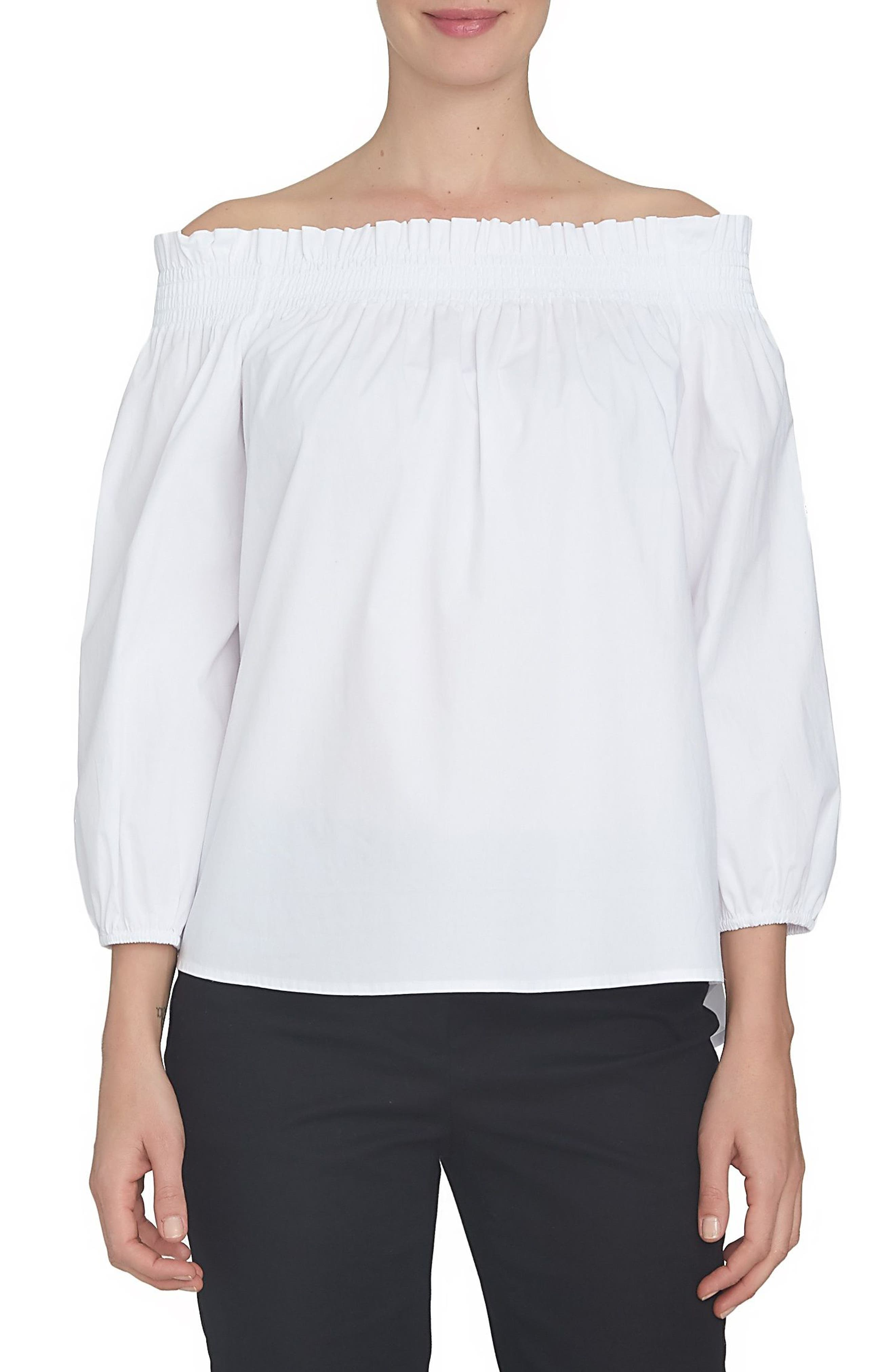 CeCe Poplin Off the Shoulder Blouse
