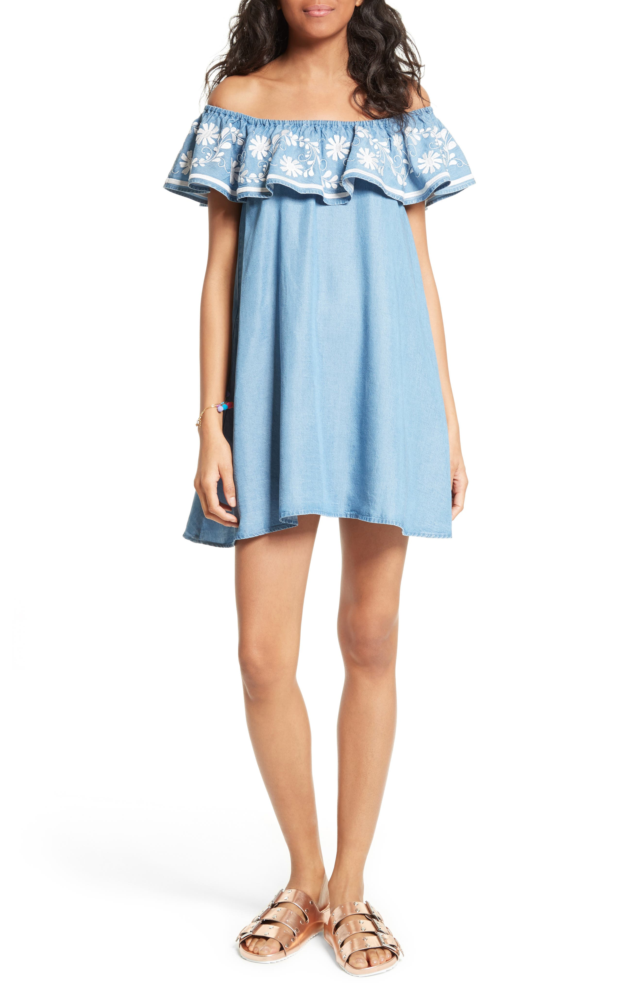 Alternate Image 1 Selected - Rebecca Minkoff Dev Off the Shoulder Minidress