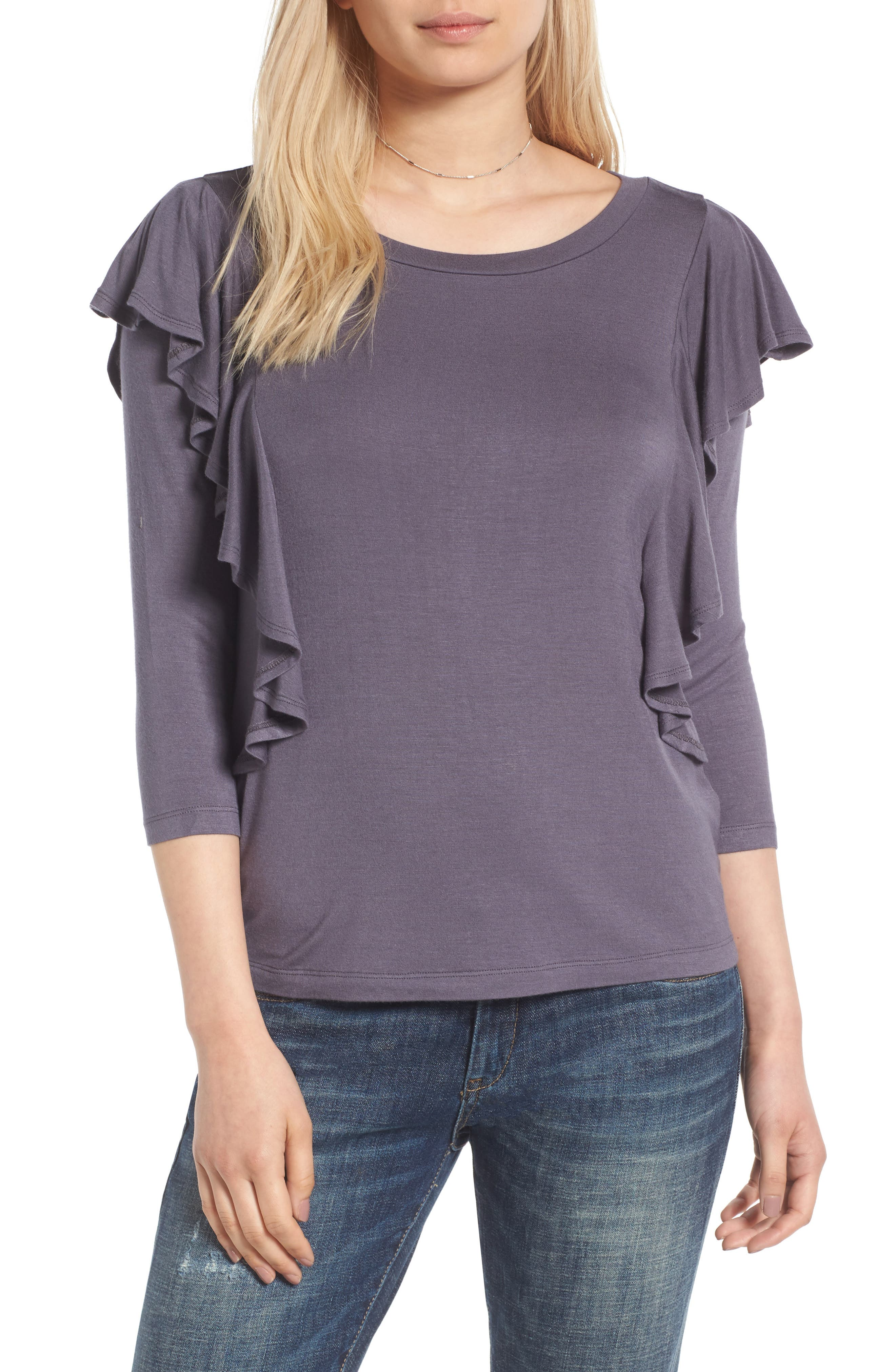 Madison & Berkeley Ruffle Knit Top
