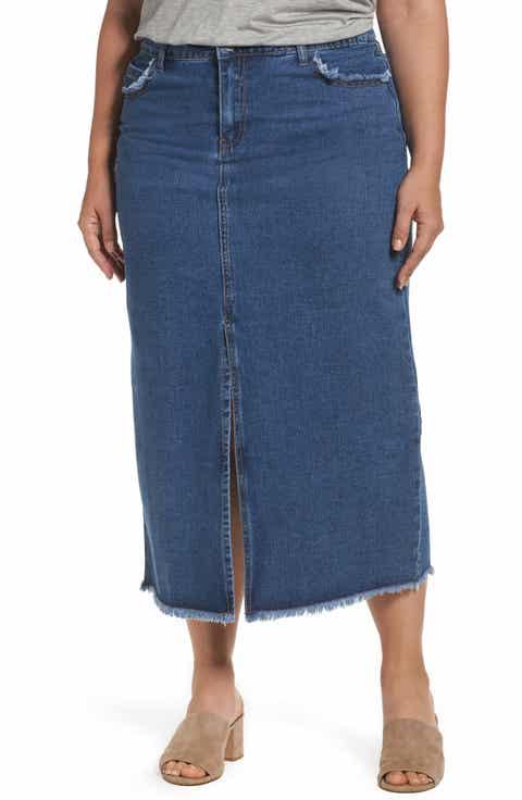 Glamorous Denim Maxi Skirt (Plus Size)
