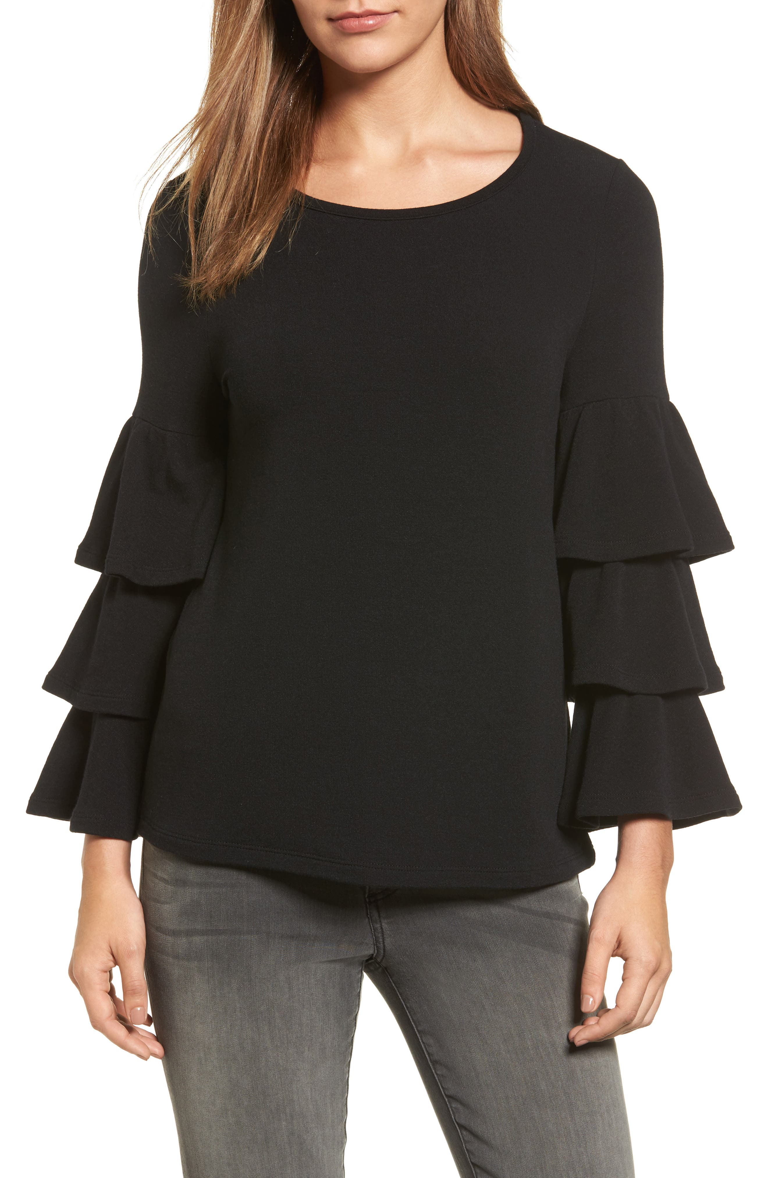 Alternate Image 1 Selected - Pleione Tiered Bell Sleeve Knit Top (Regular & Petite)