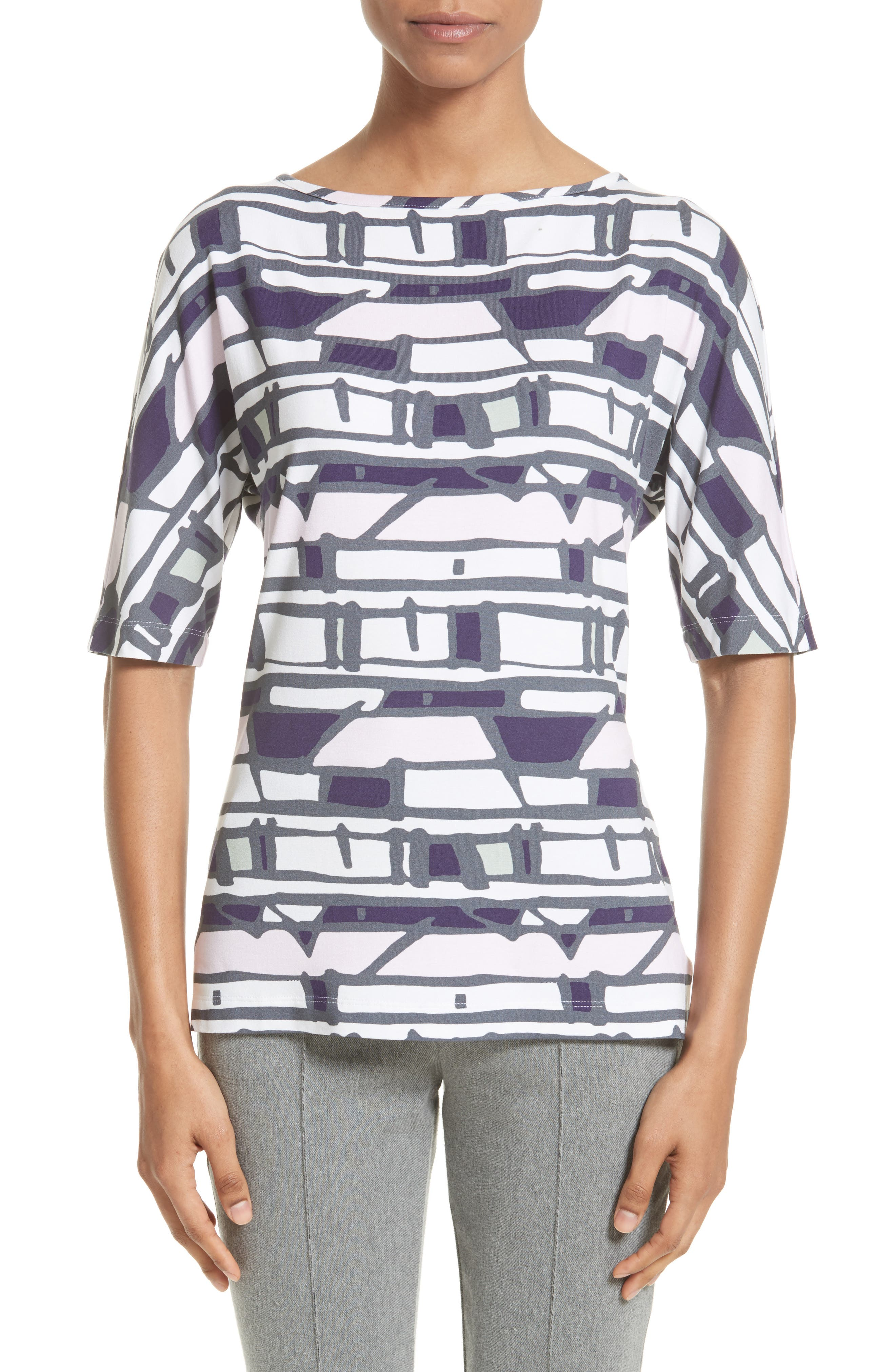 St. John Collection Broken Stripe Print Top