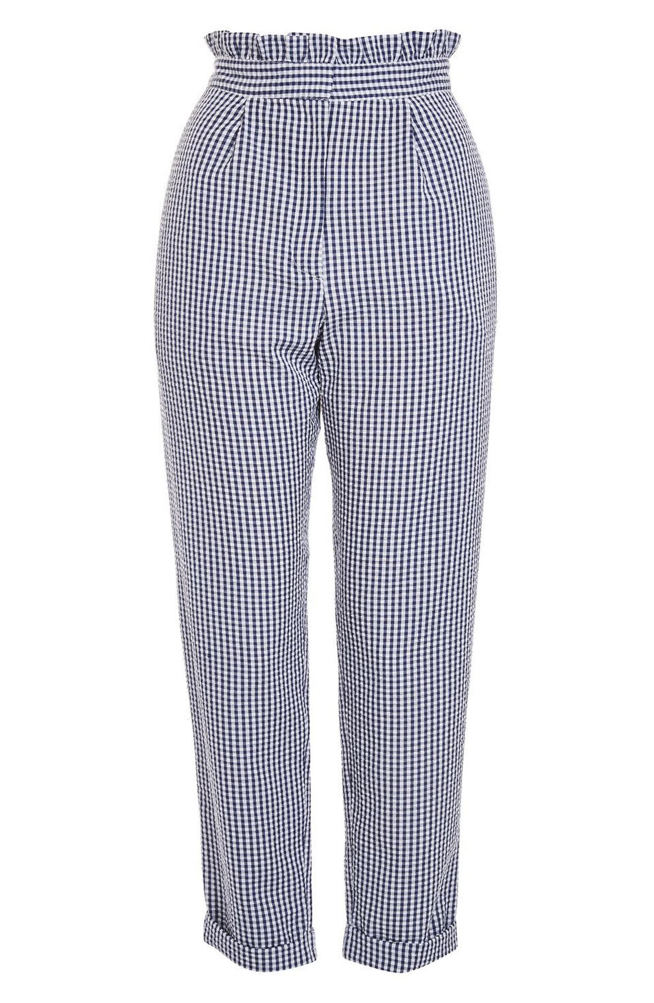Alternate Image 3  - Topshop Ruffle Waist Gingham Trousers