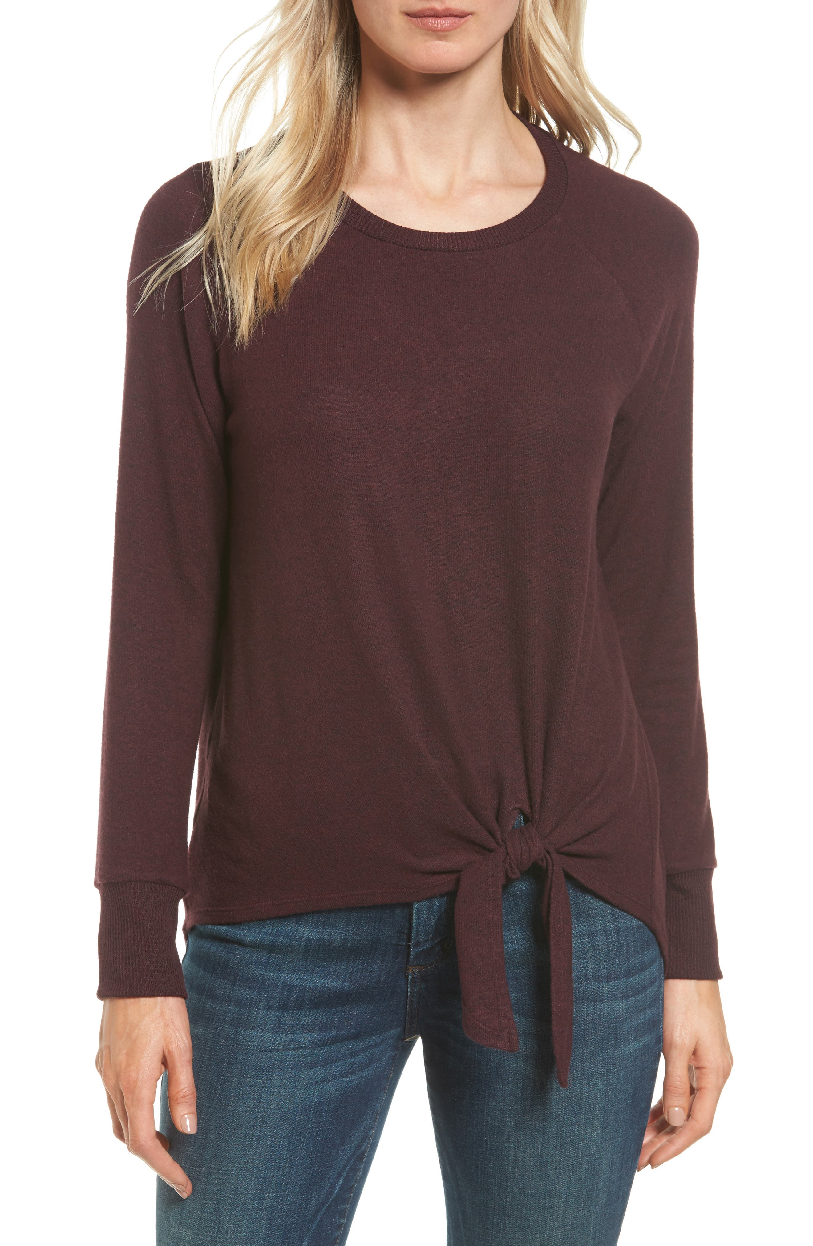 Main Image - Gibson Tie Front Cozy Fleece Pullover (Regular & Petite)