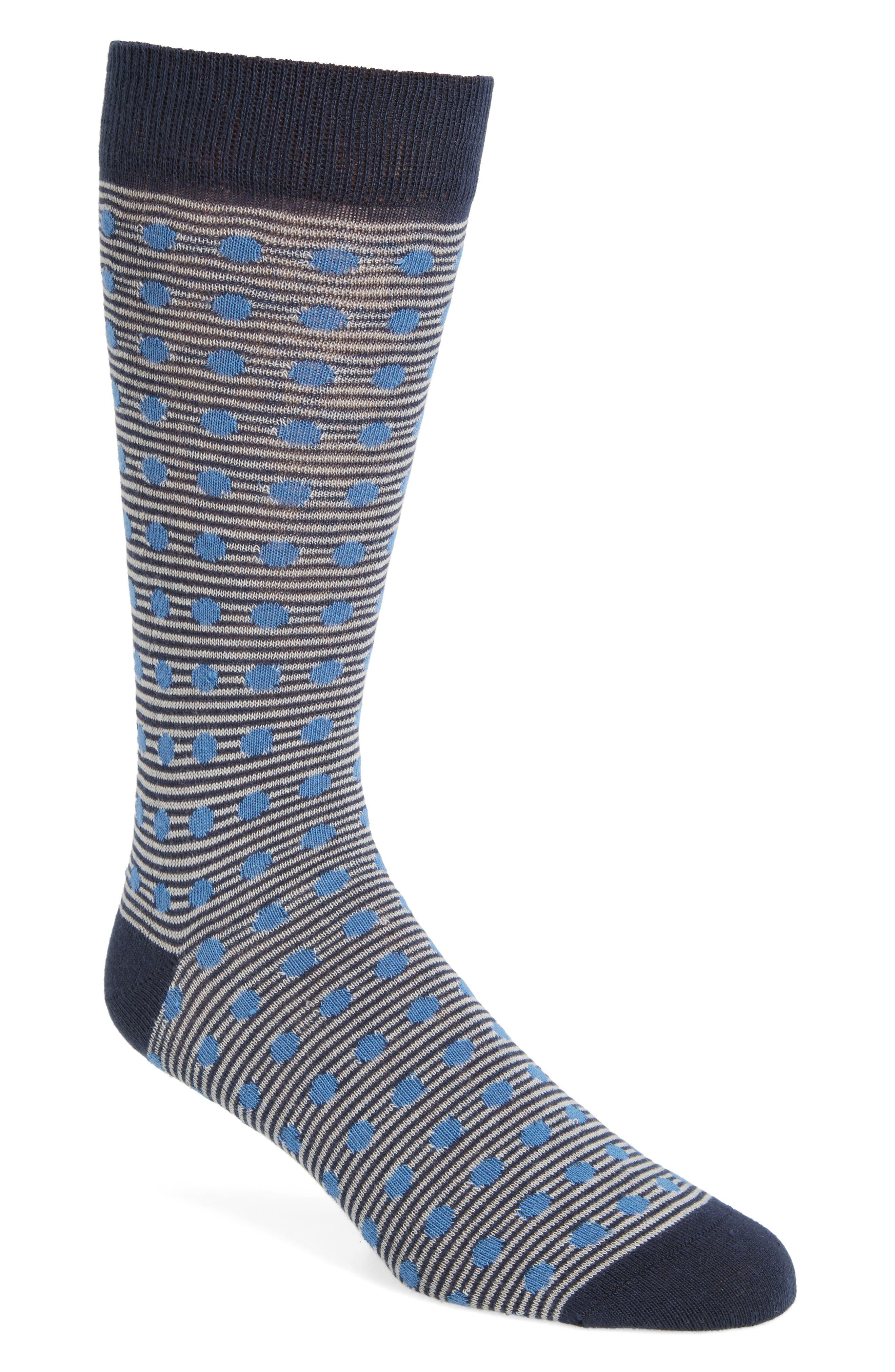 Ted Baker London Dot Stripe Crew Socks