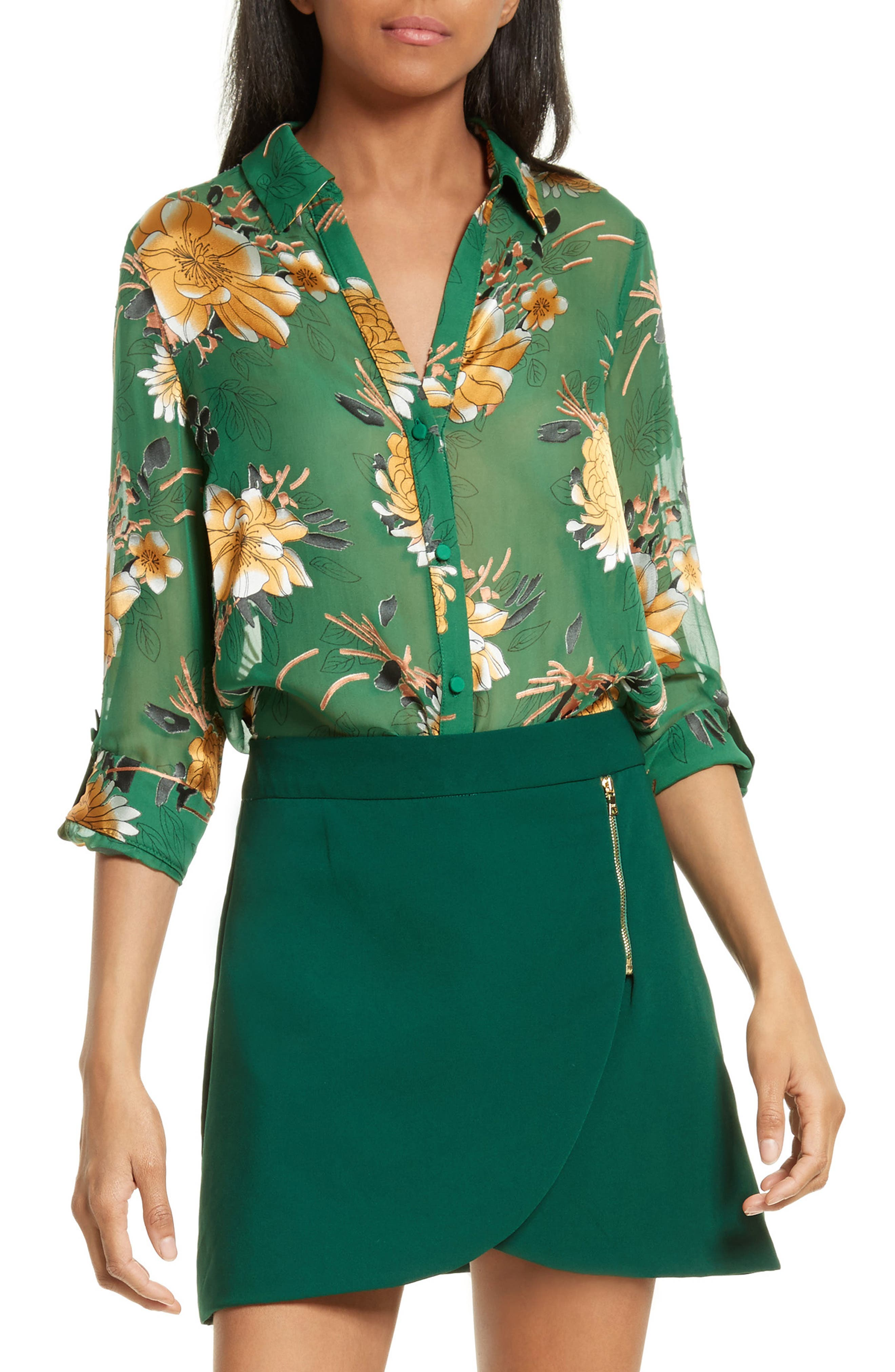 Alice + Olivia Eloise Roll Sleeve Floral Blouse