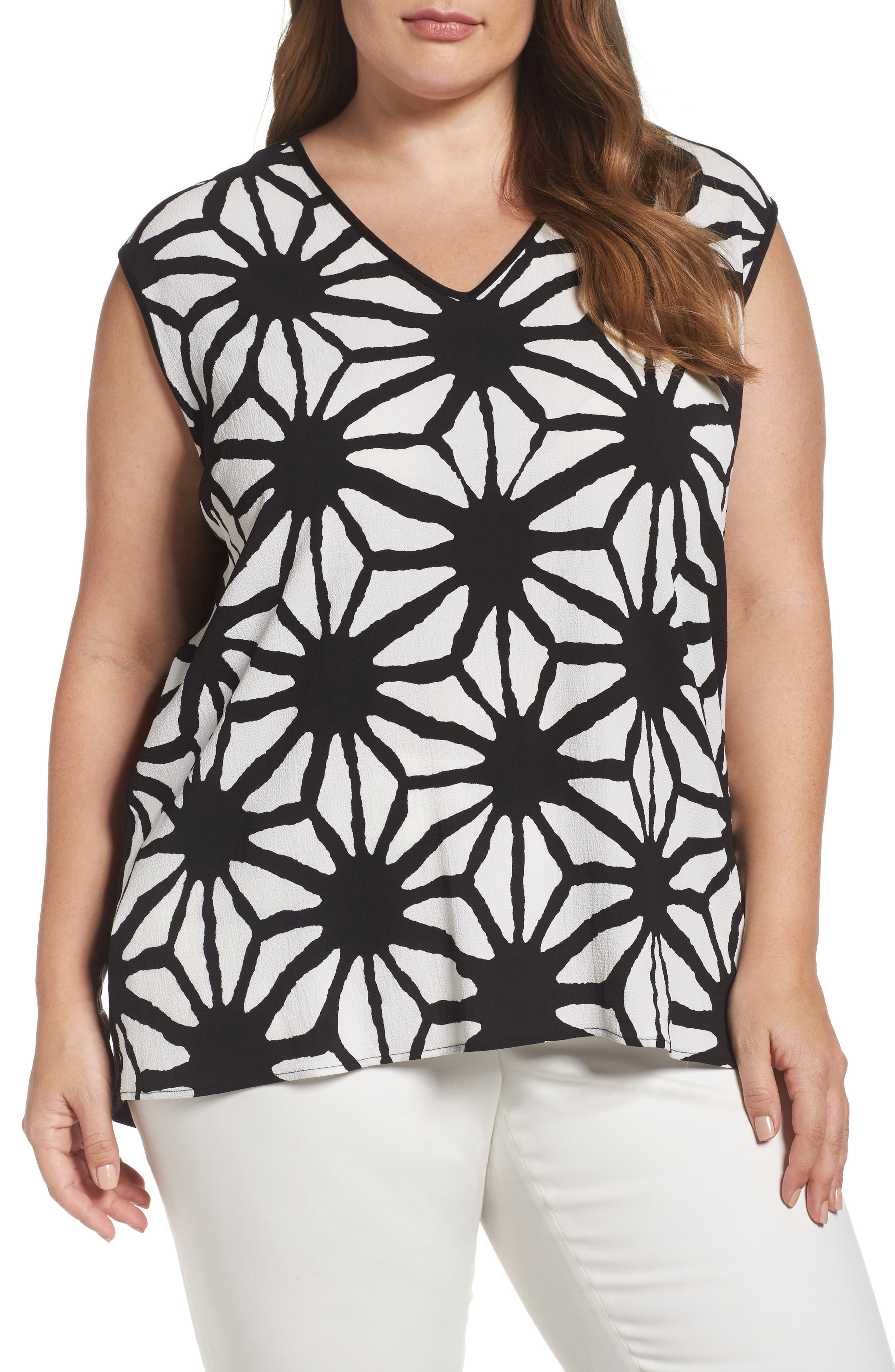 Vince Camuto Mixed Media Tank (Plus Size)