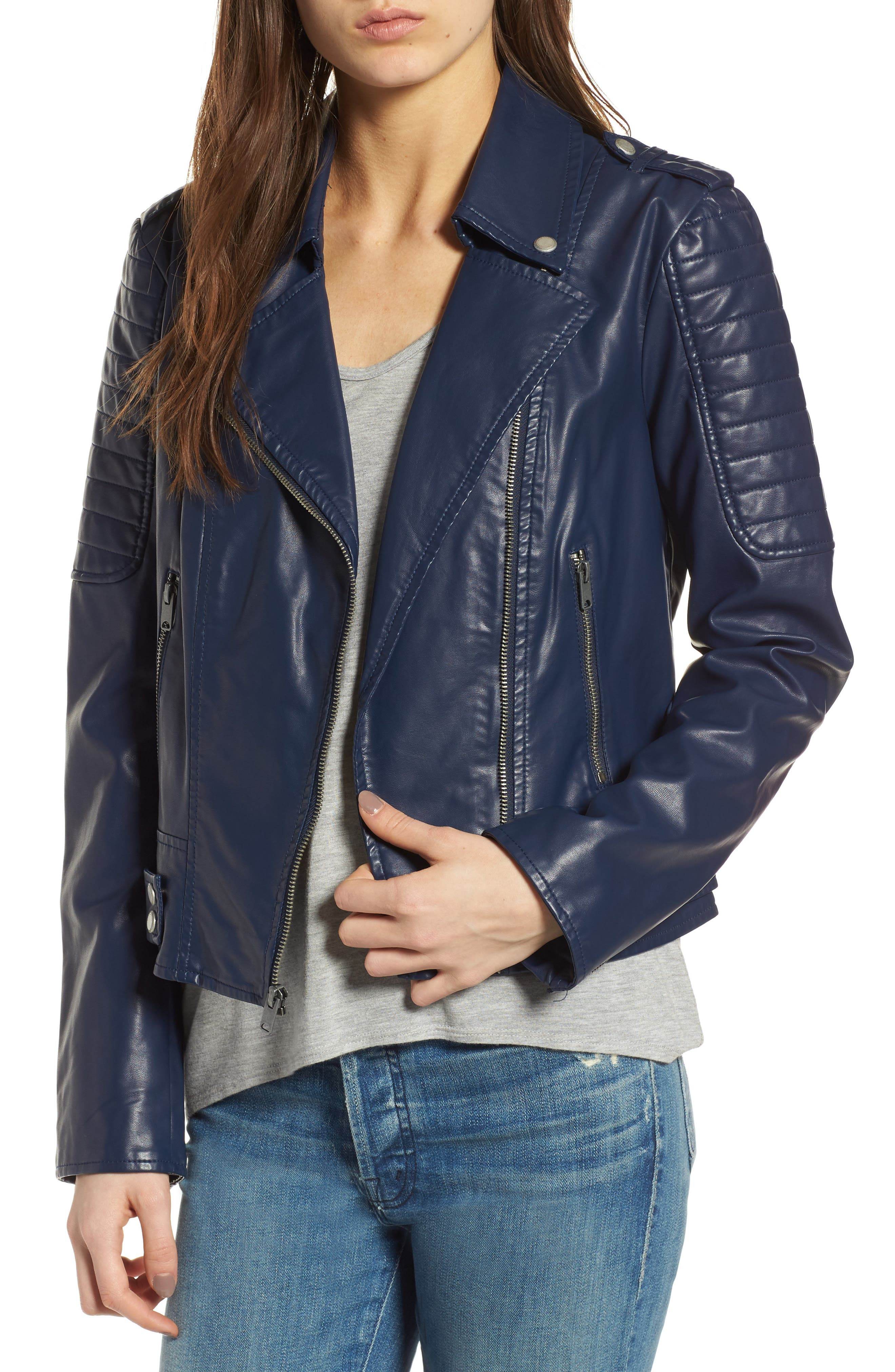 ANDREW MARC Leanne Faux Leather Jacket