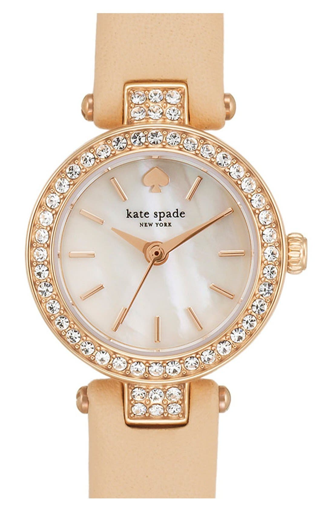 Main Image - kate spade new york 'tiny metro' crystal bezel leather strap watch, 20mm