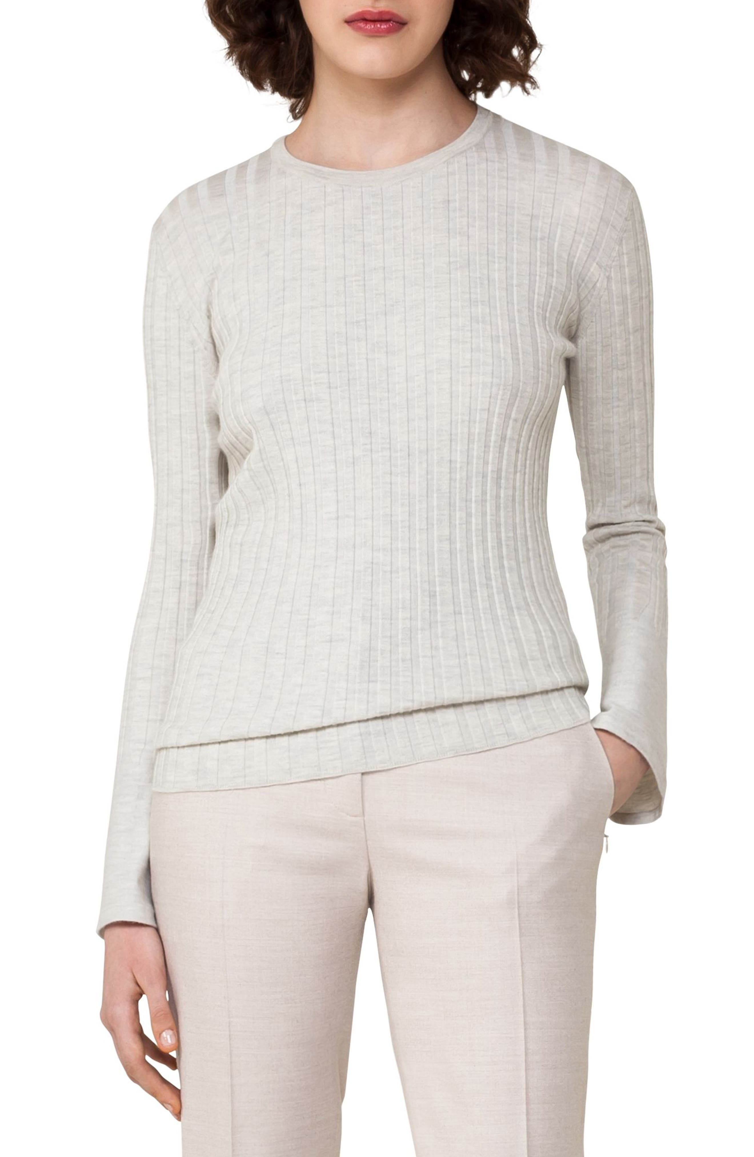 Akris Rib Knit Stretch Cashmere & Silk Top
