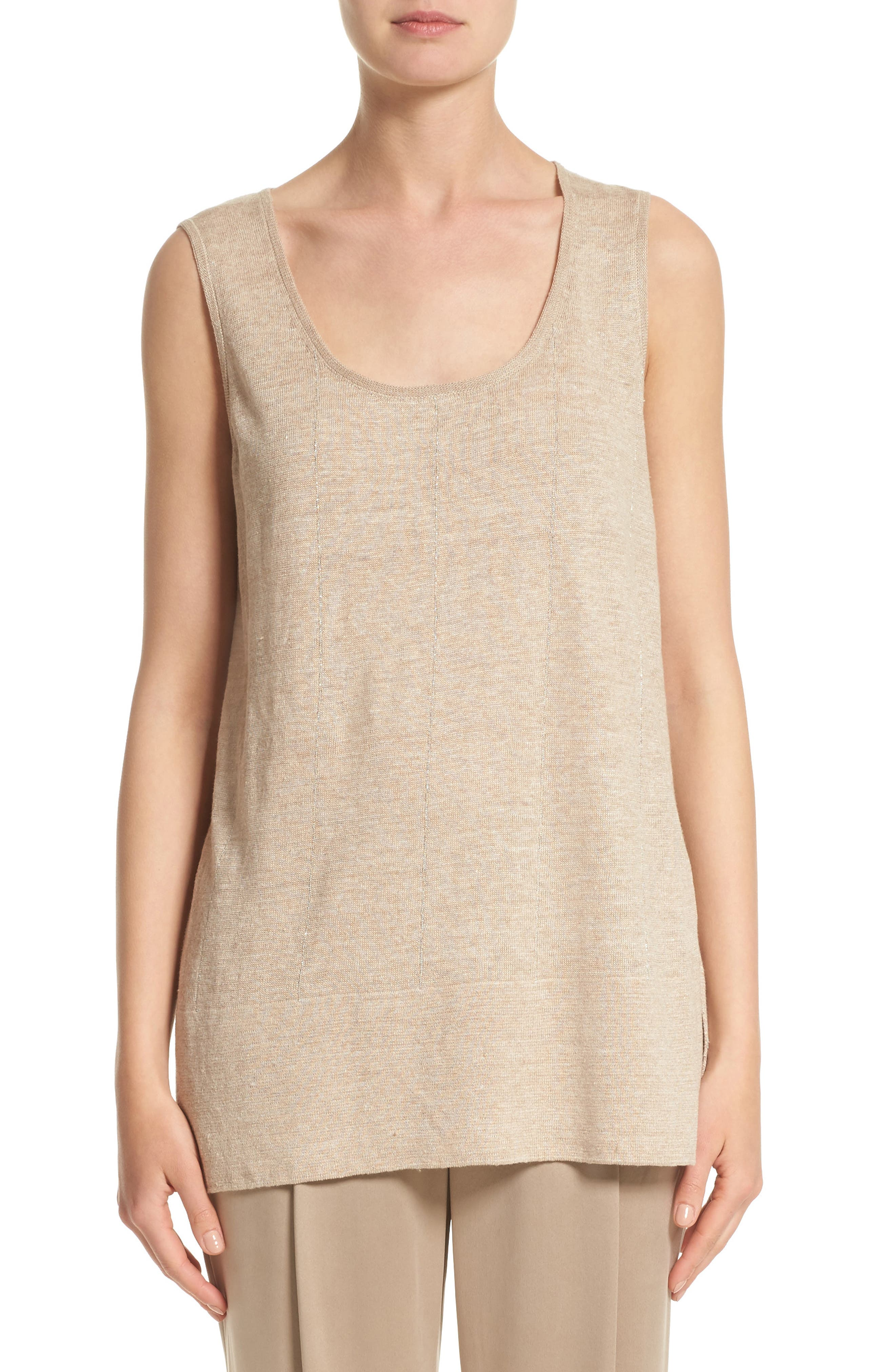 Lafayette 148 New York Linen Scoop Neck Tank