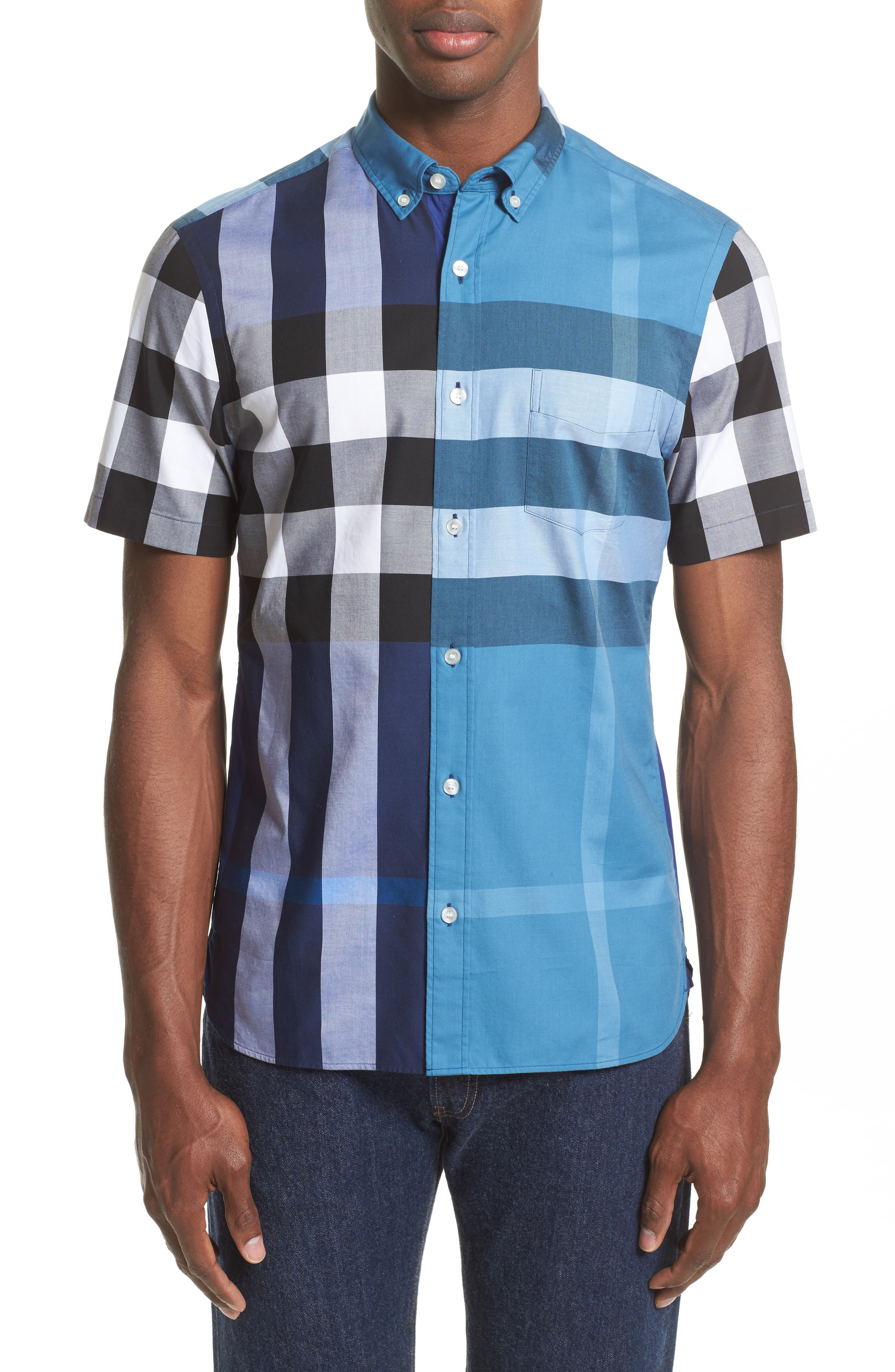 Burberry Sawick Trim Fit Short Sleeve Check Sport Shirt