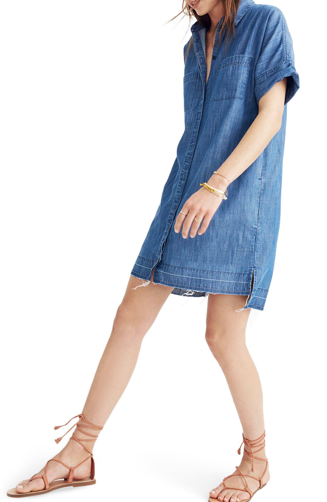 Alternate Image 1 Selected - Madewell Raw Edge Denim Shirtdress
