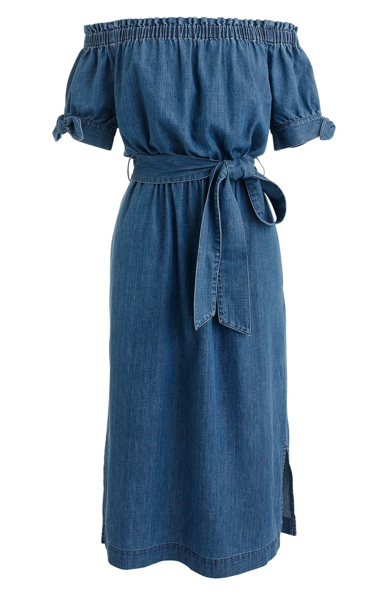 Alternate Image 4  - J.Crew Tie Waist Chambray Off the Shoulder Dress