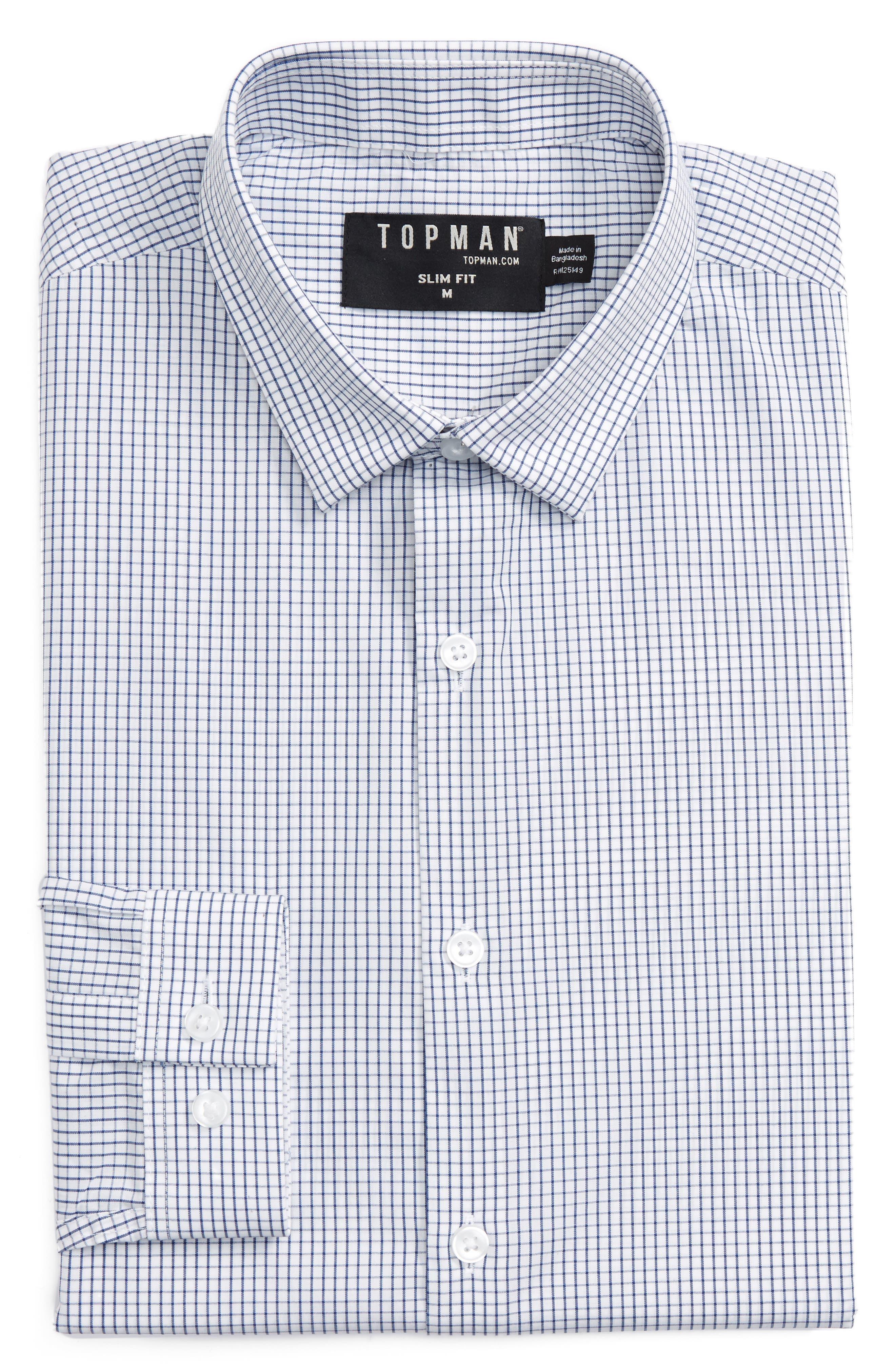 Topman Slim Fit Grid Check Dress Shirt
