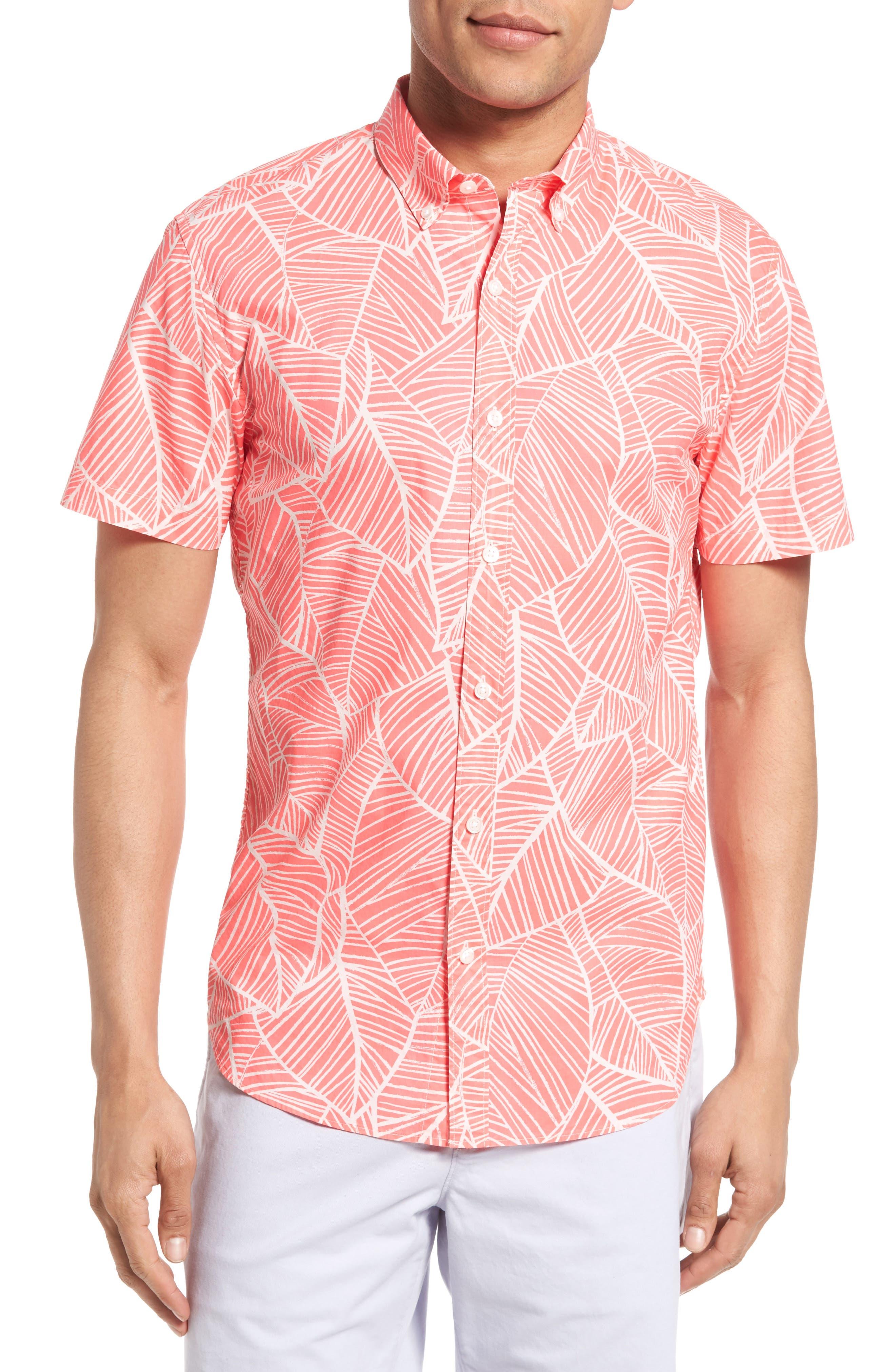 Bonobos Slim Fit Palm Frond Print Short Sleeve Sport Shirt