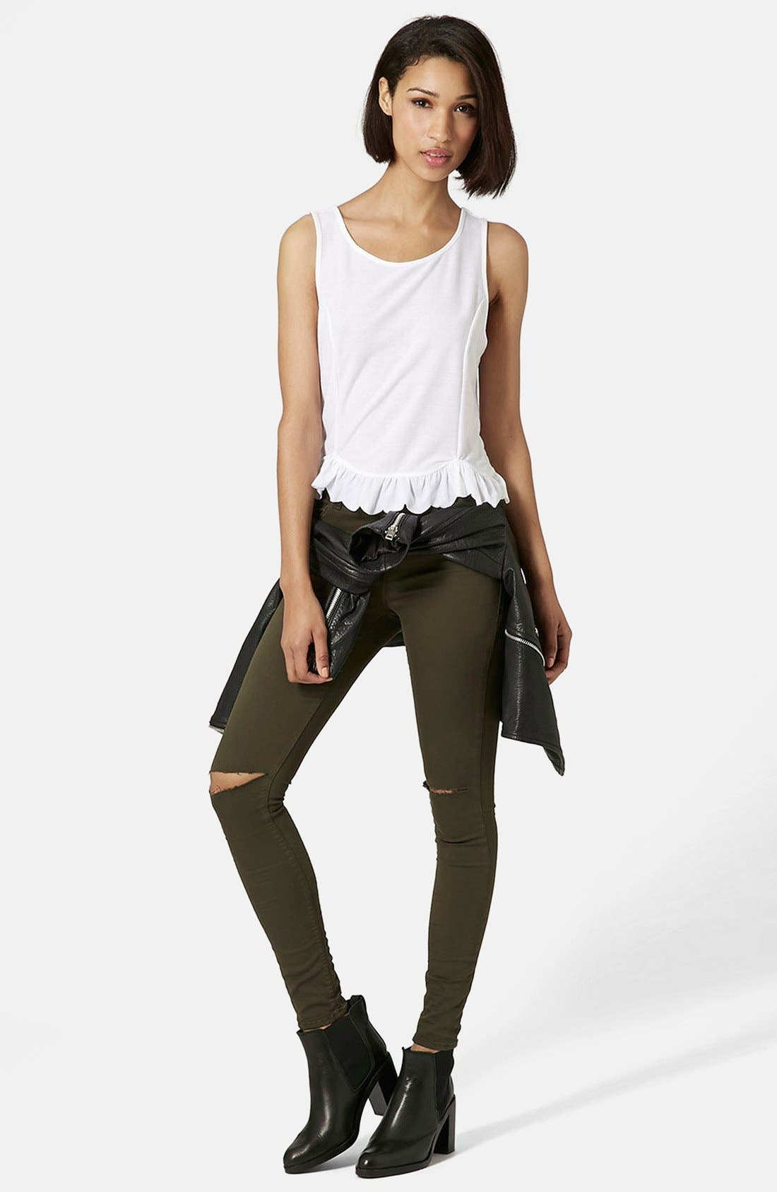 Alternate Image 5  - Topshop Moto 'Leigh' Ripped Skinny Jeans (Olive) Short