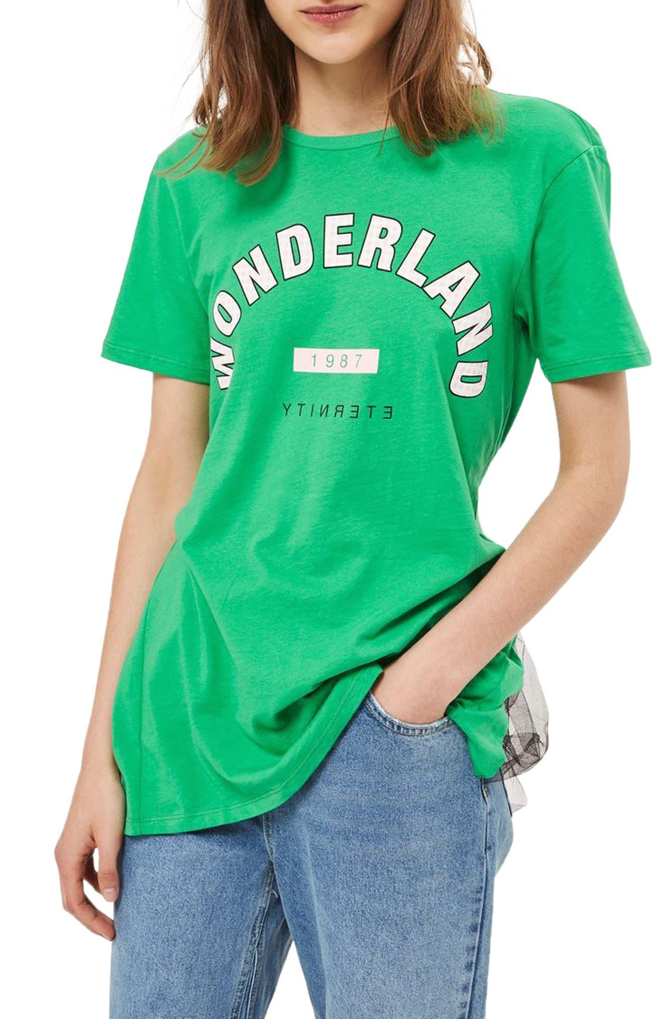 Topshop Wonderland Tulle Back T-Shirt