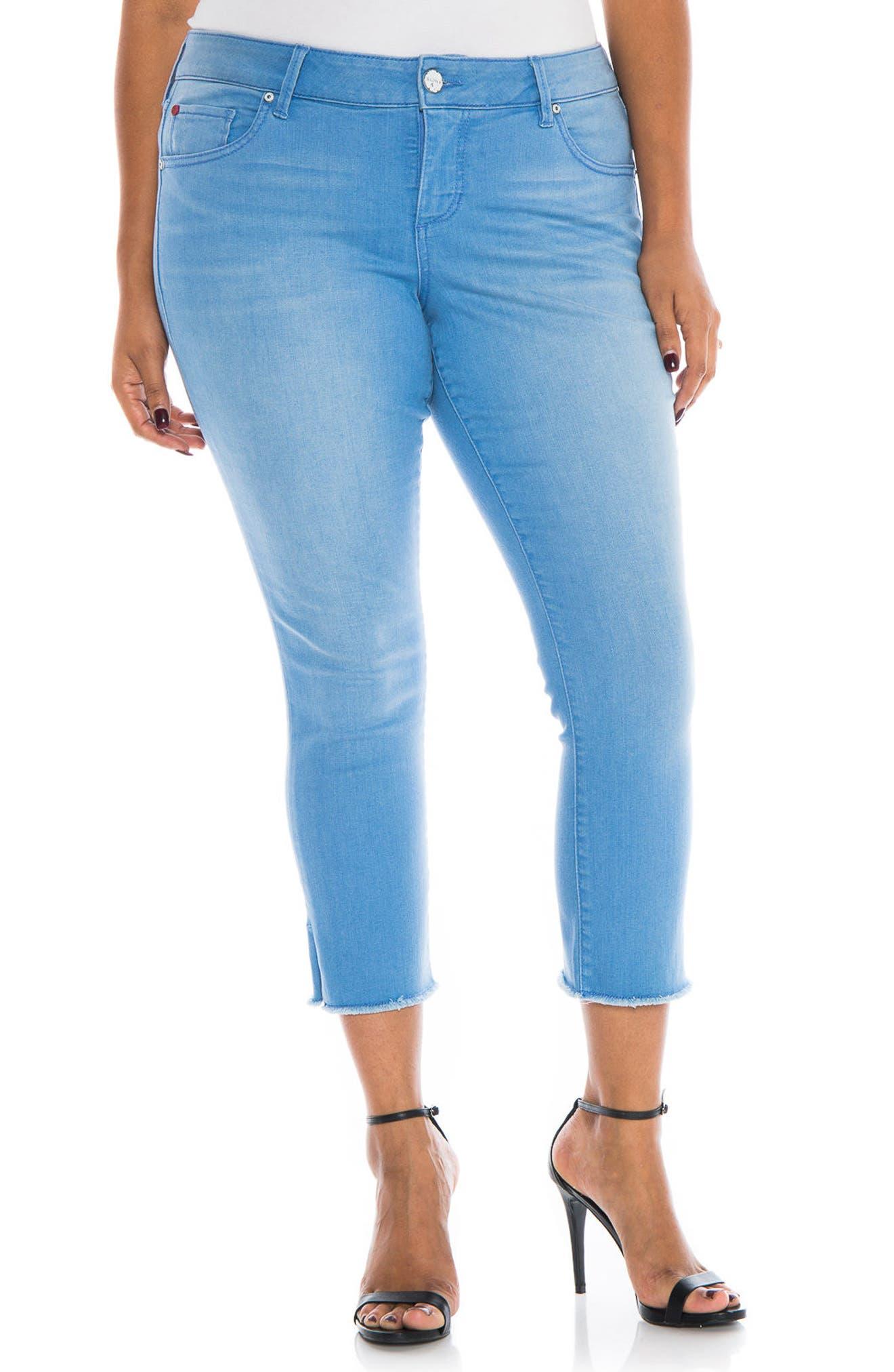SLINK Jeans Fray Hem Crop Skinny Jeans (Cloe) (Plus Size)