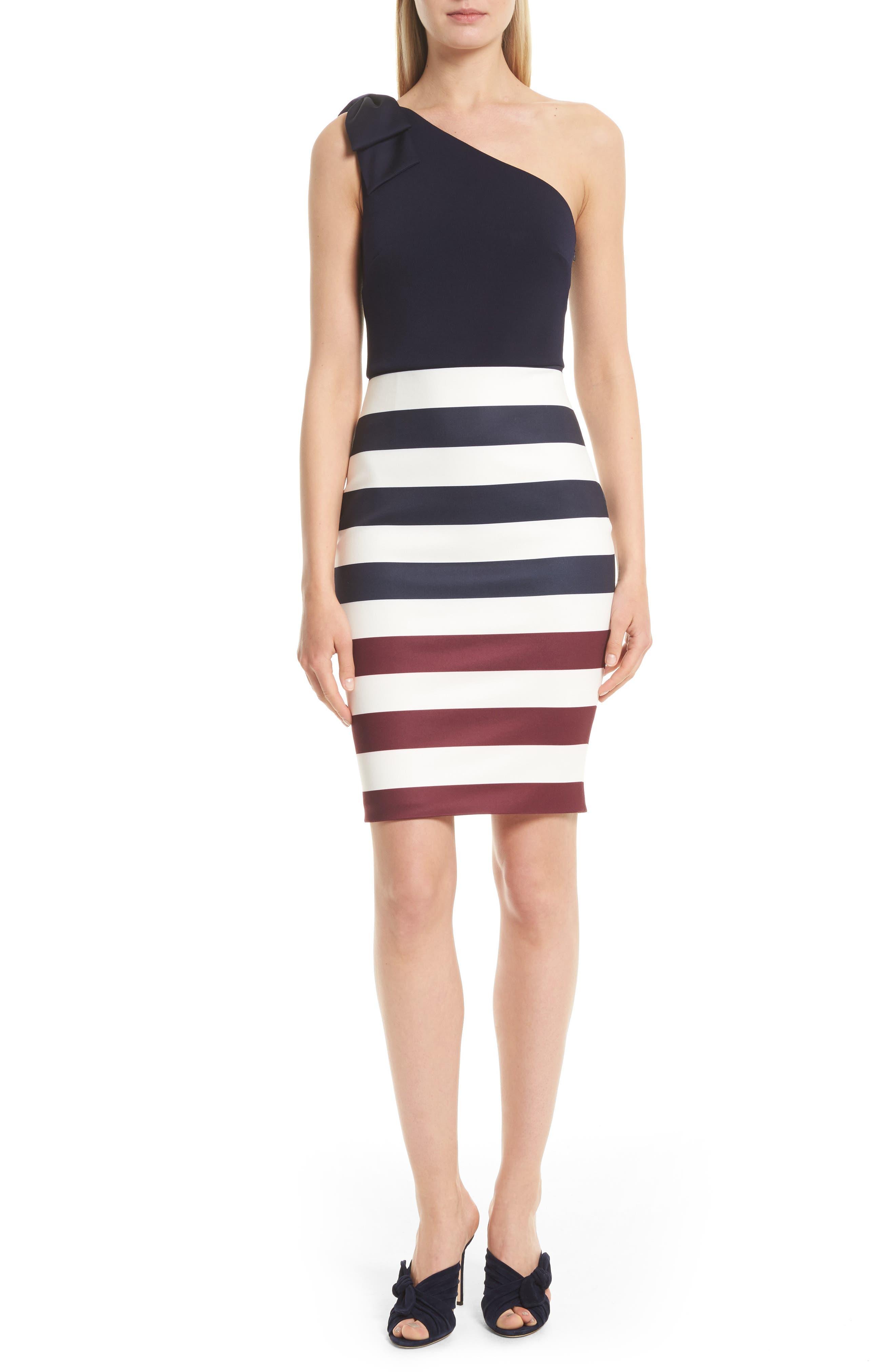 Ted Baker London Hilila One-Shoulder Rowing Stripe Dress