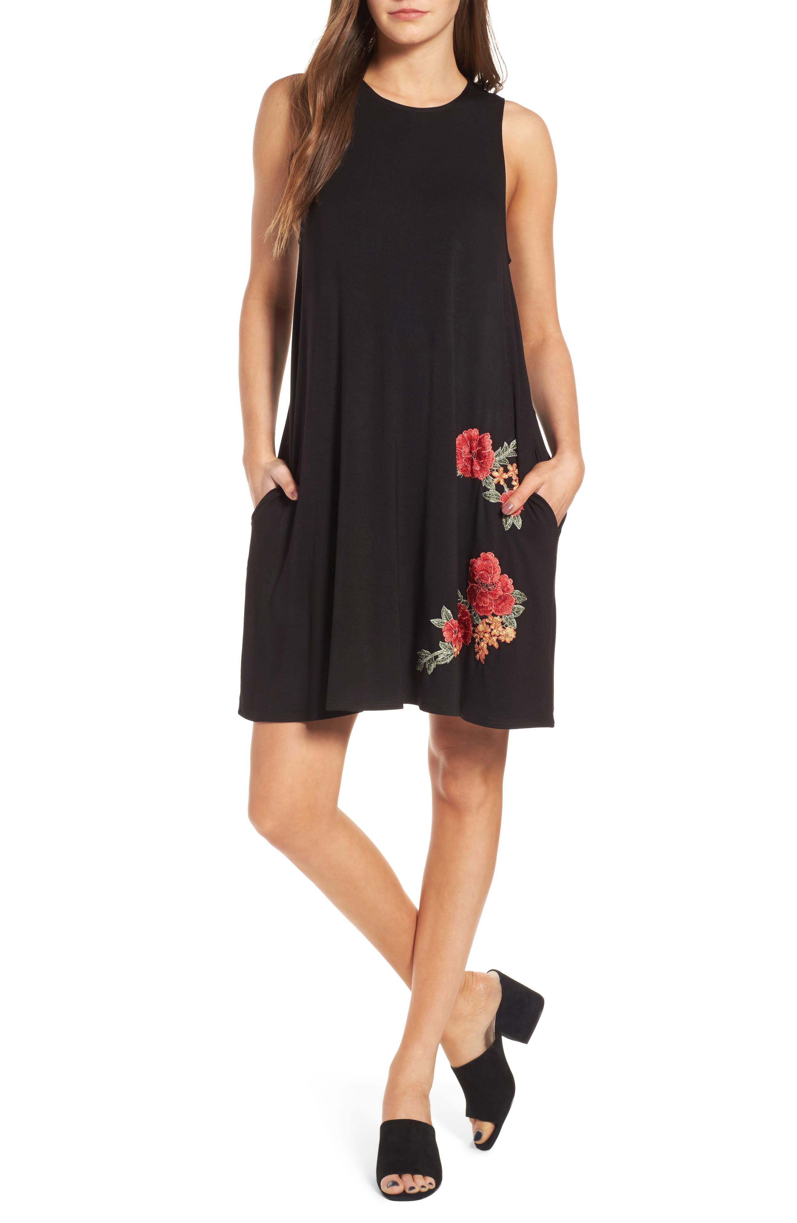 Main Image - Socialite Floral Appliqué Tank Dress