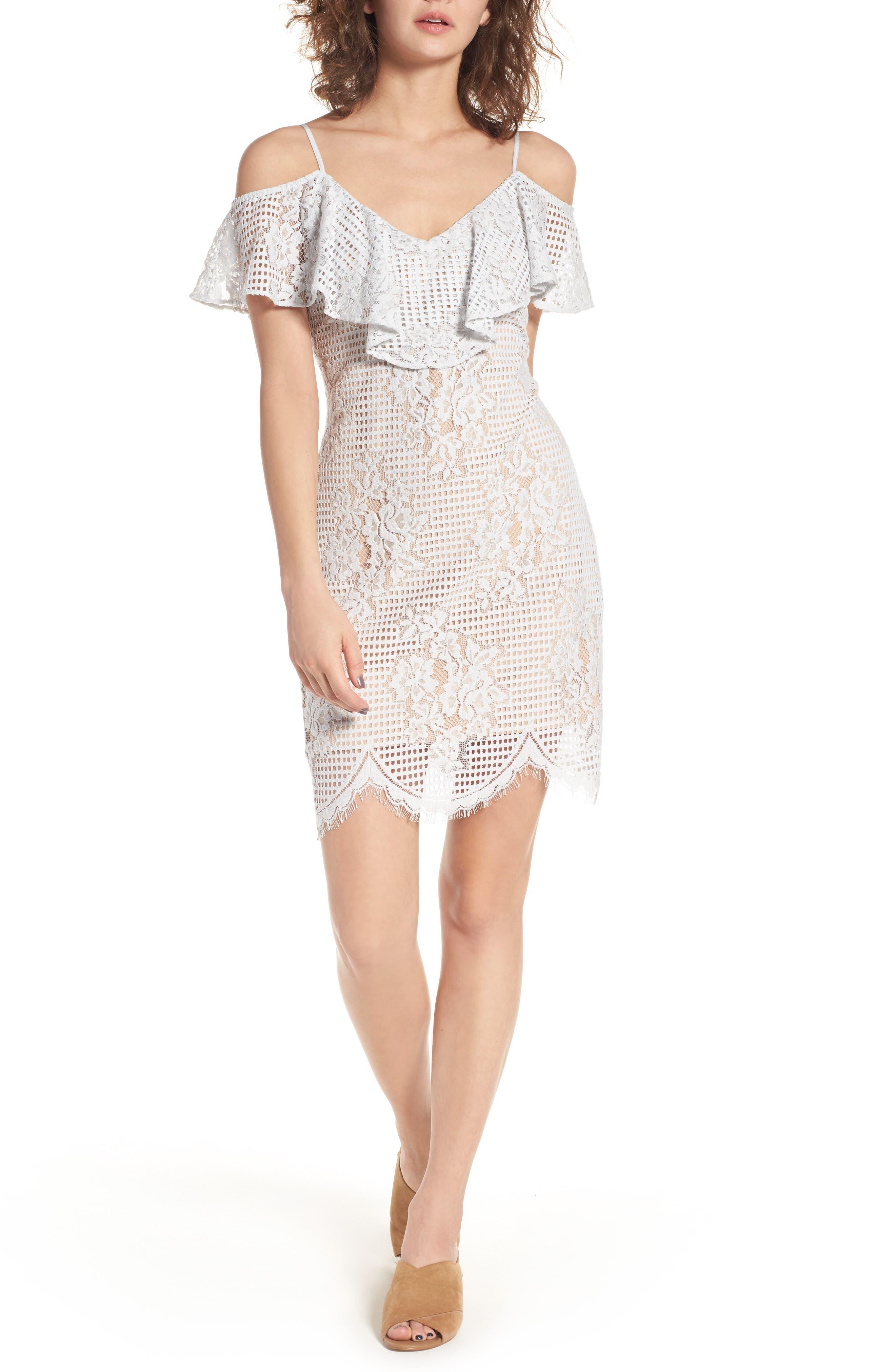 WAYF Cold Shoulder Lace Dress