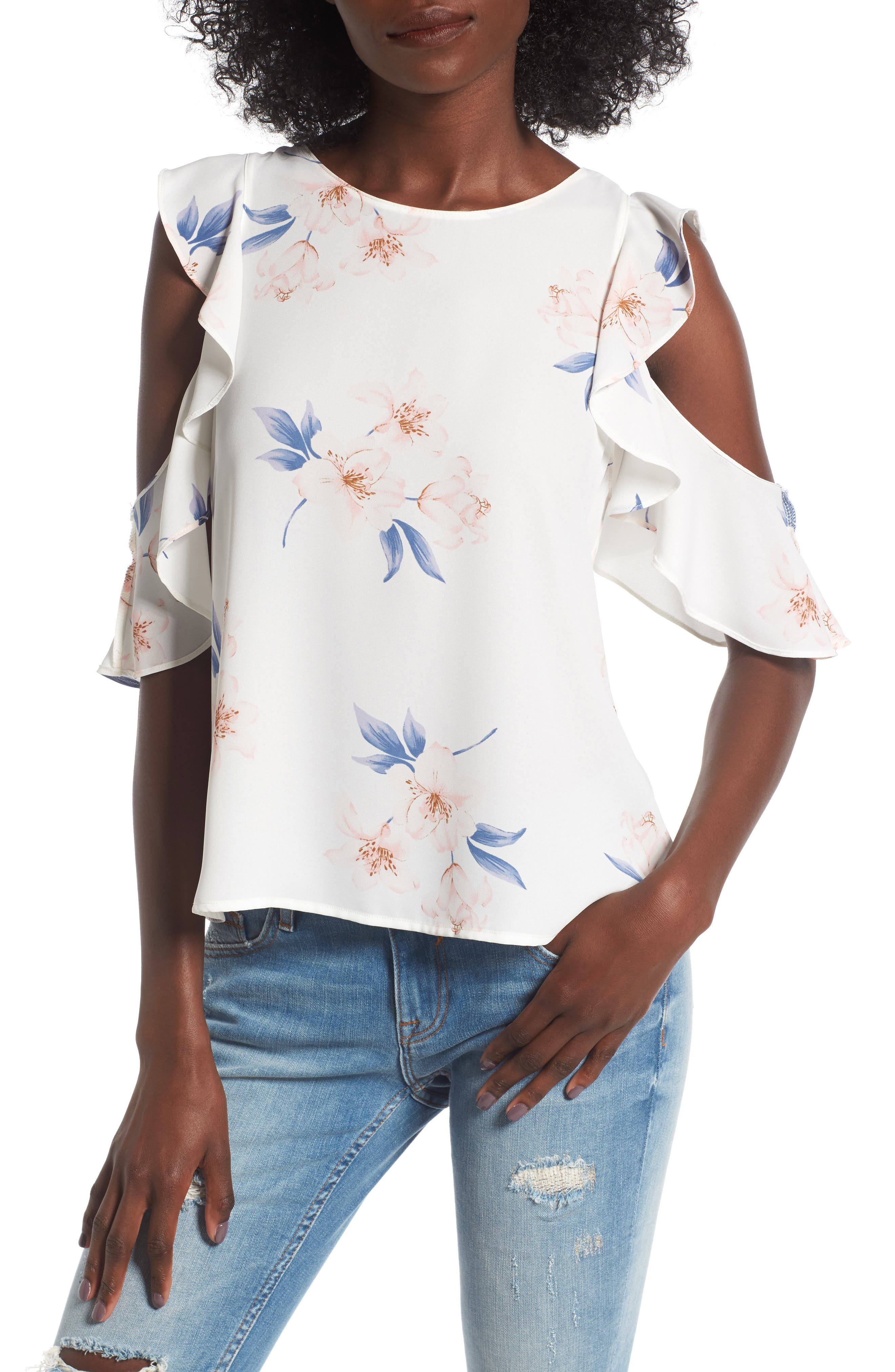 Alternate Image 1 Selected - Lush Ruffle Cold Shoulder Top