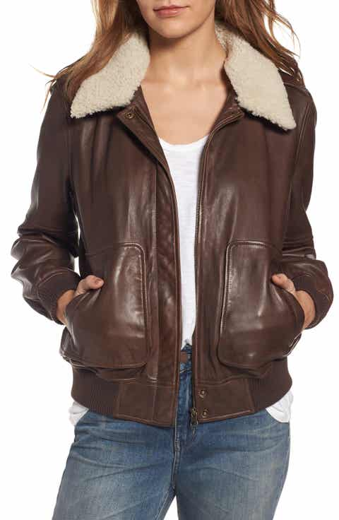 Treasure & Bond Leather Aviator Jacket with Removable Genuine Shearling  Collar - Shearling Coats & Jackets For Women Nordstrom