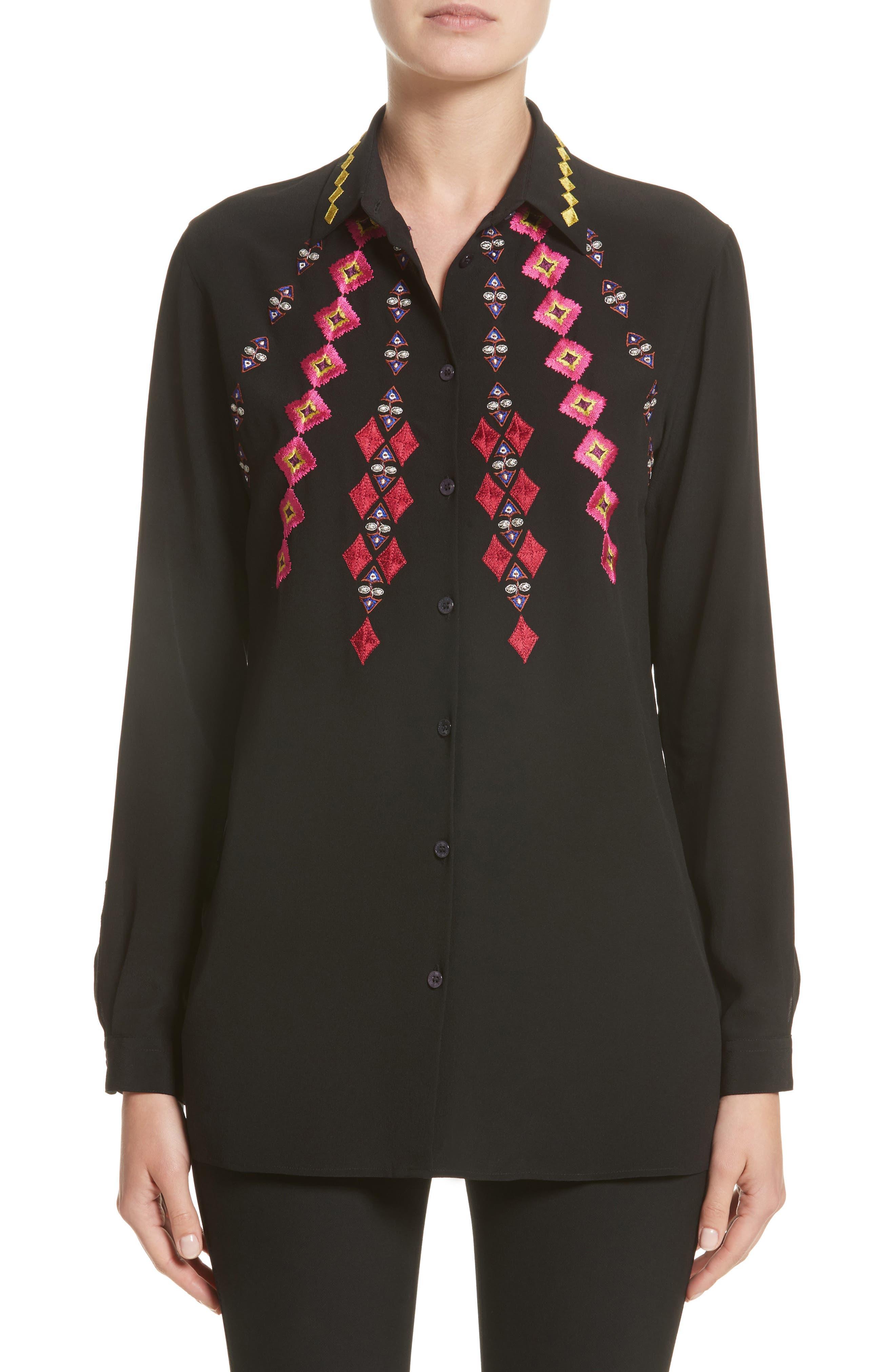 Etro Diamond Embroidered Silk Blouse
