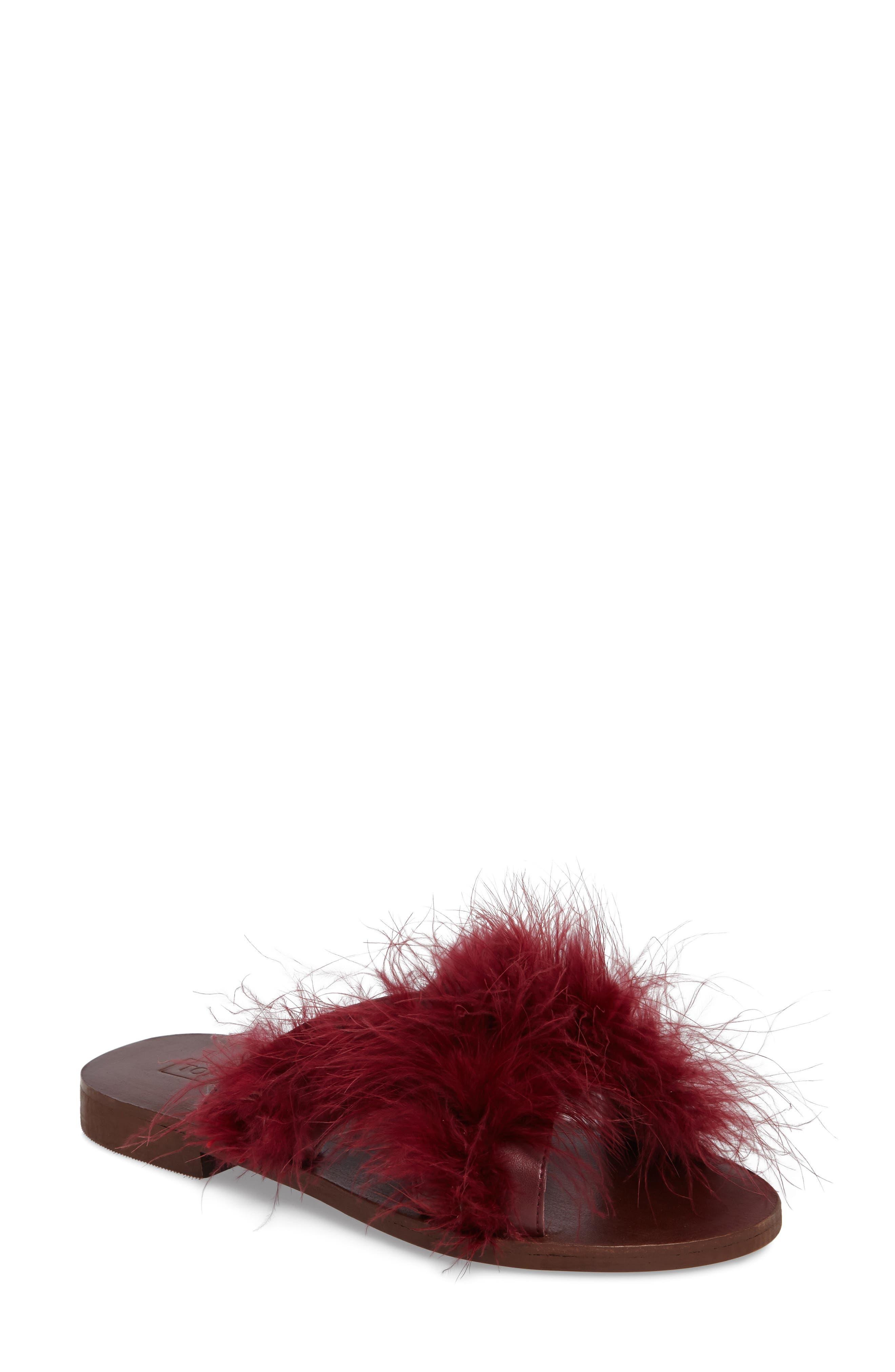 Main Image - Topshop Fenella Feathered Sandal (Women)