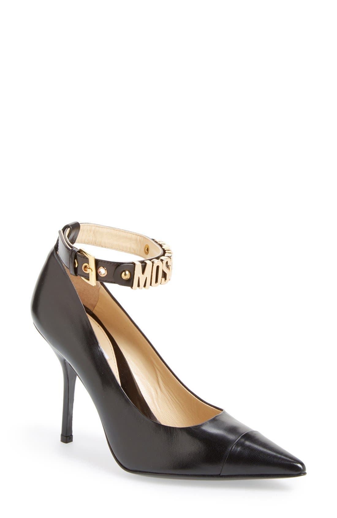 Alternate Image 1 Selected - Moschino Logo Ankle Strap Pump (Women)