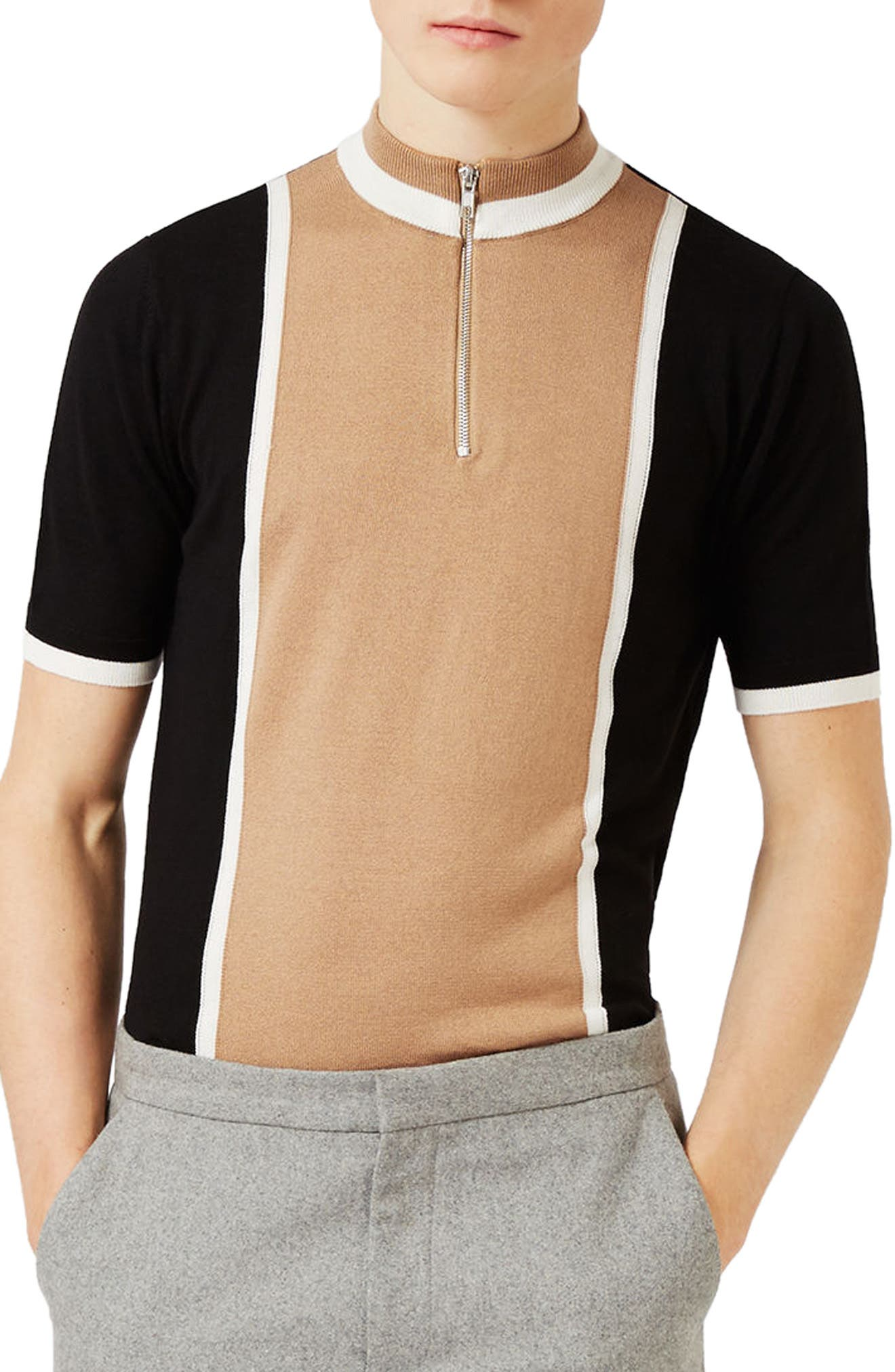 Topman Zip Neck Short Sleeve Sweater