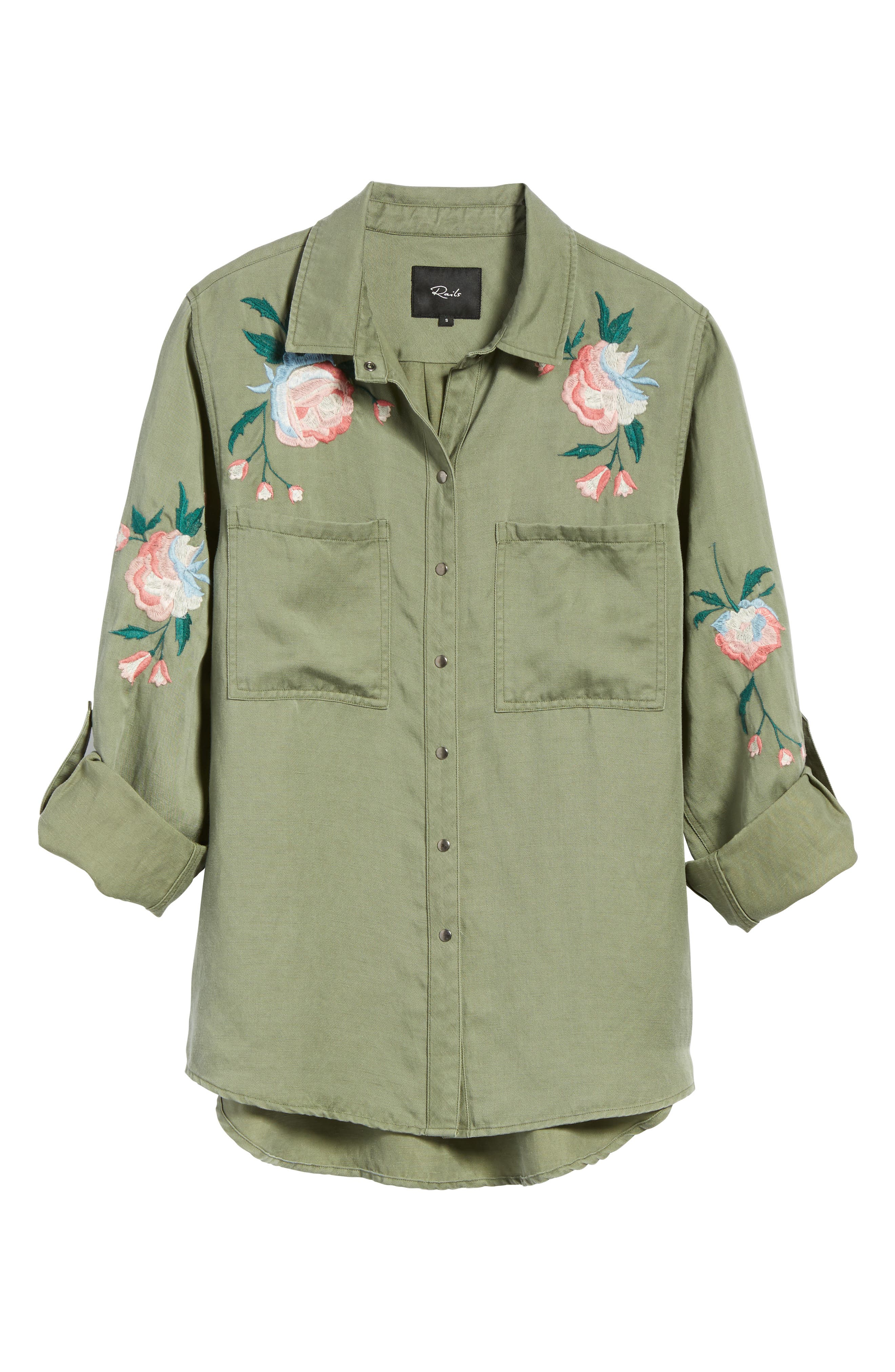 Alternate Image 7  - Rails Channing Embroidered Military Shirt