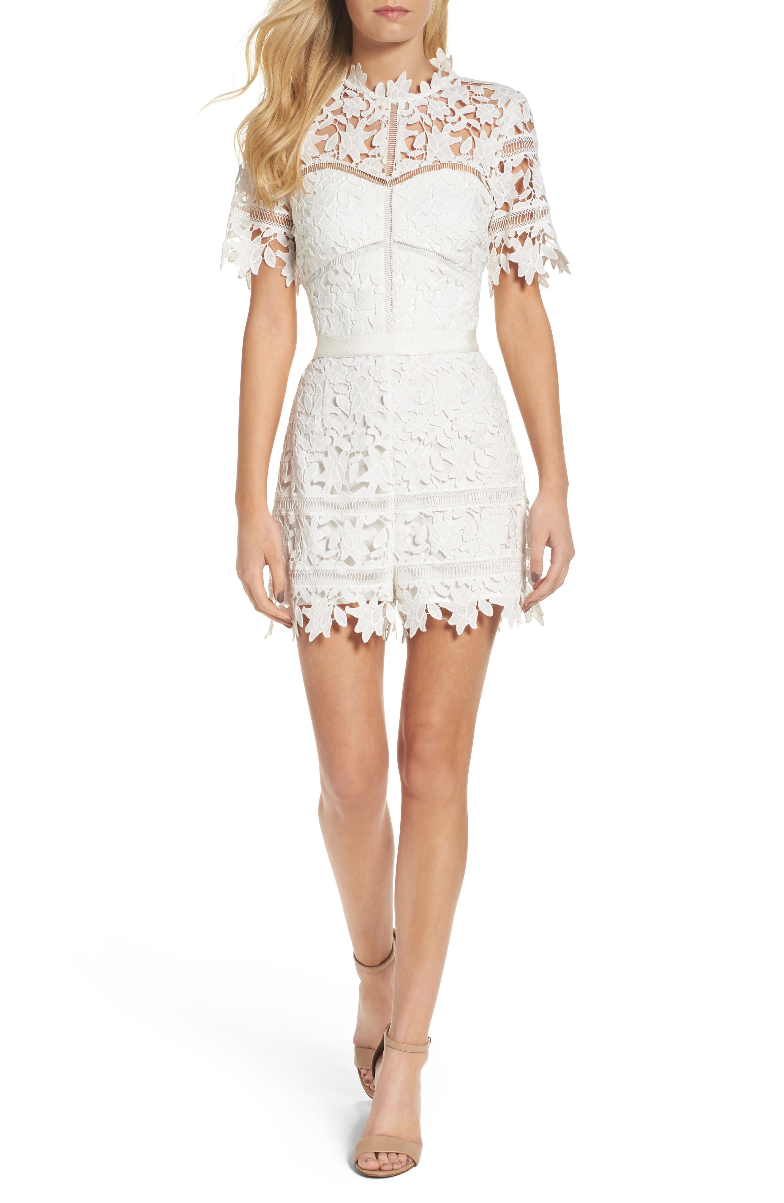Adelyn Rae Illusion Lace Romper