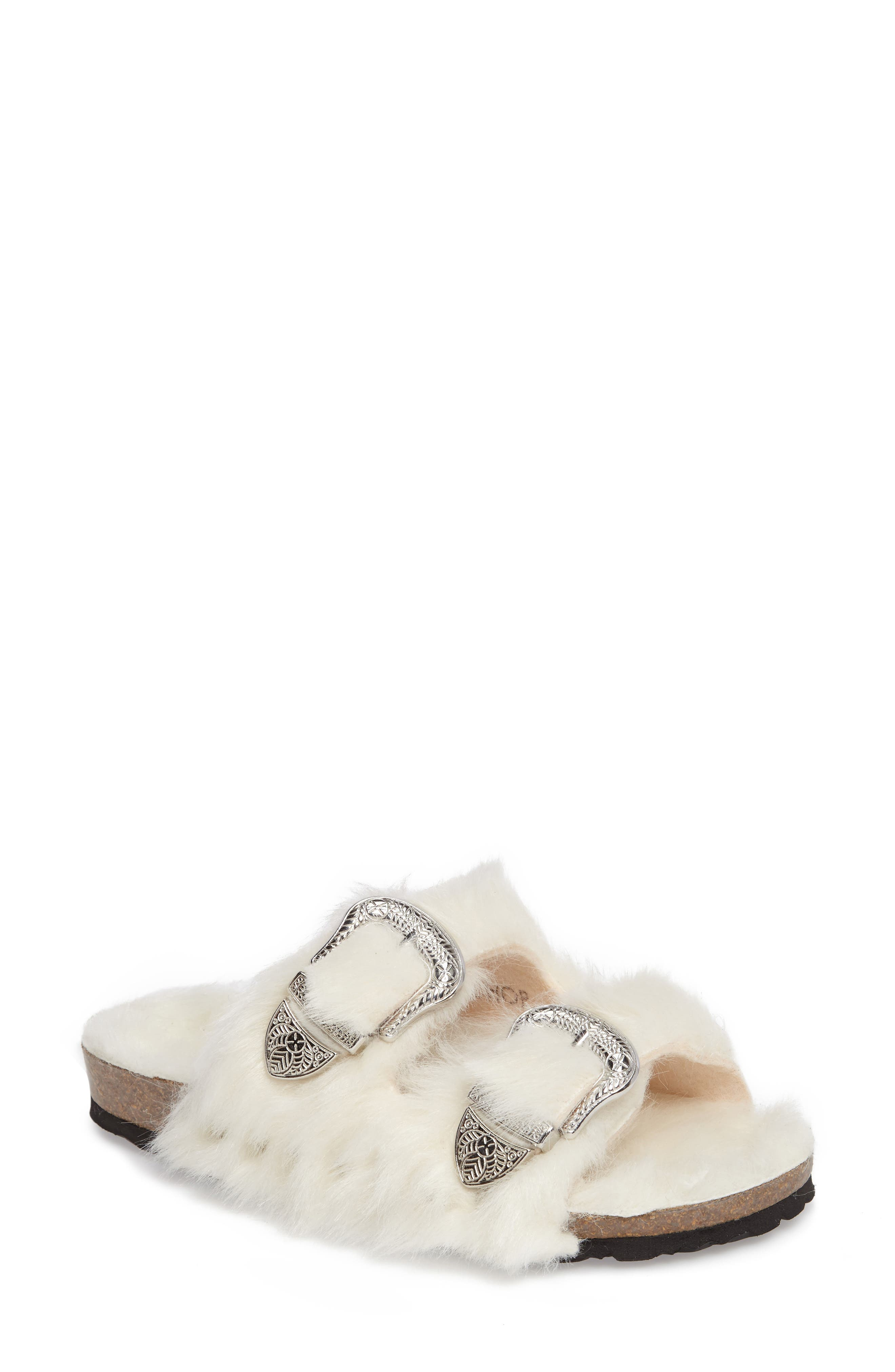 Main Image - Topshop Falcon Faux Fur Slide Sandal (Women)