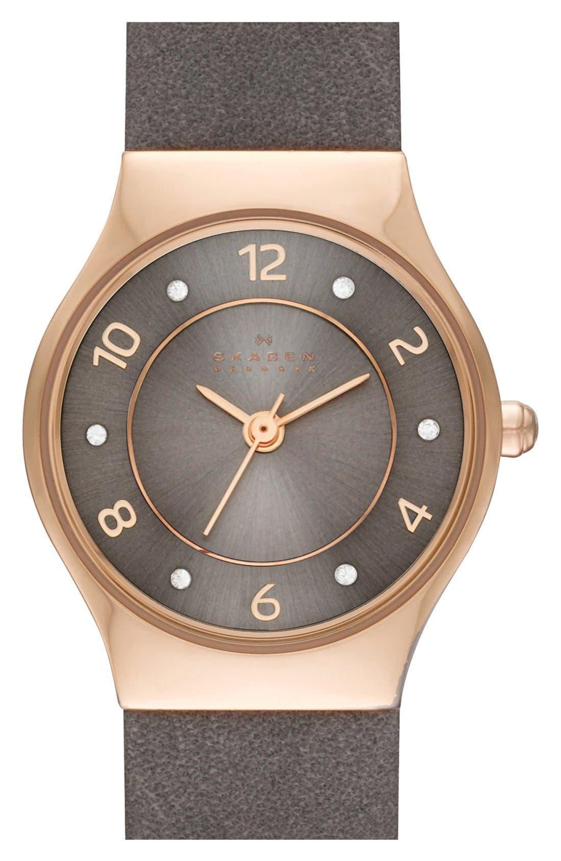 Alternate Image 1 Selected - Skagen 'Grenen' Crystal Marker Leather Strap Watch, 24mm