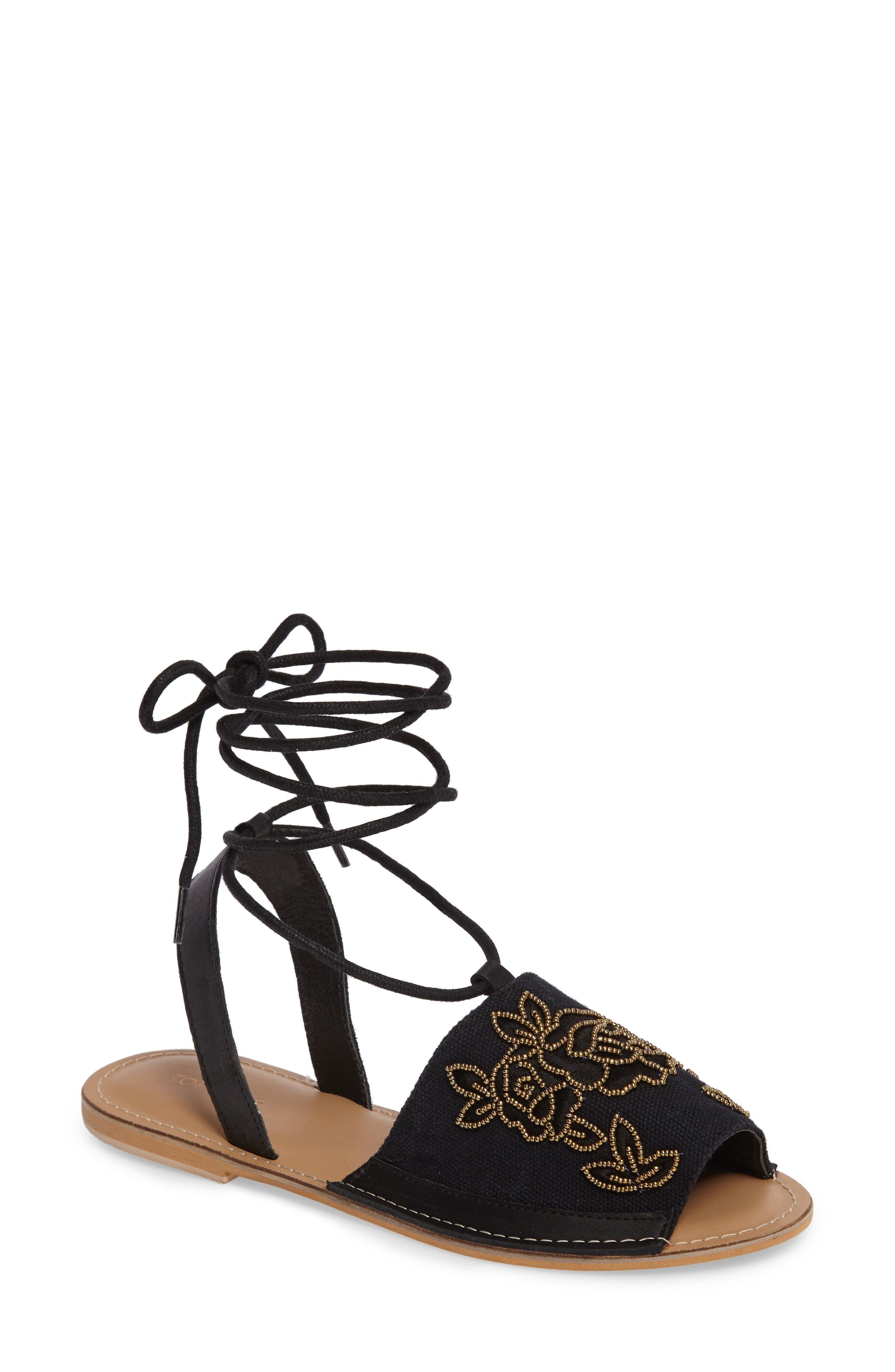 Topshop Halle Embroidered Sandal (Women)